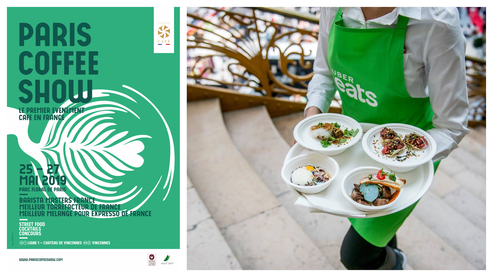 A poster for the Paris coffee show this May (left). A staff member of Taste of Paris carrying a tray of dishes to sample (right).