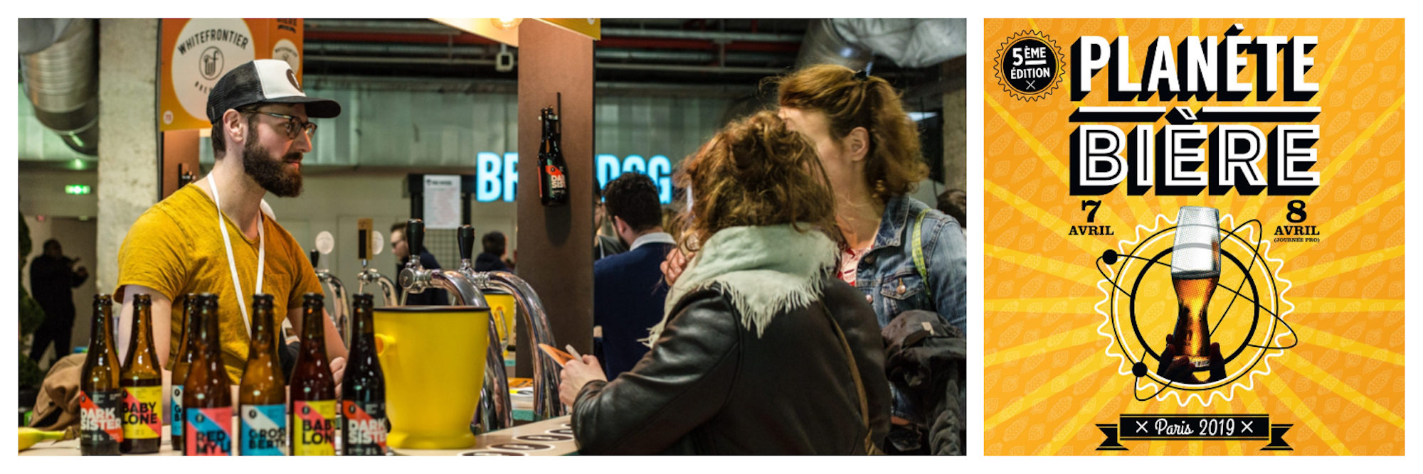 Events in Paris in April include beer festival Planète Bière, where visitors can taste lots of different beers like these two ladies at a bar at the event (left). The flyer for the Planète Bière beer festival in Paris in April (right).