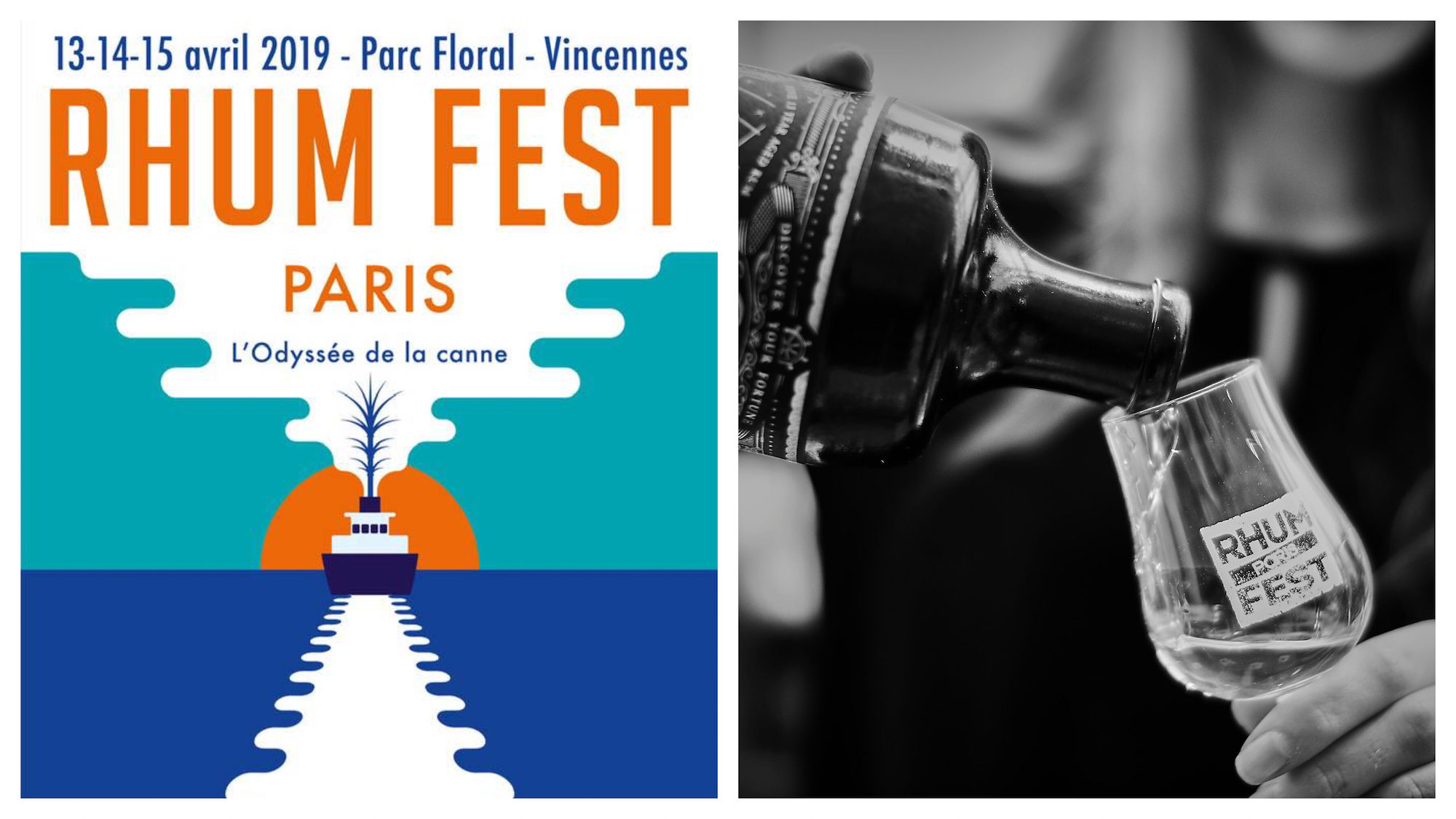 A poster for the Paris rum festival in April with a block painting of a boat out to see (left). Someone pouring rum into a glass at the Paris rum festival (right).