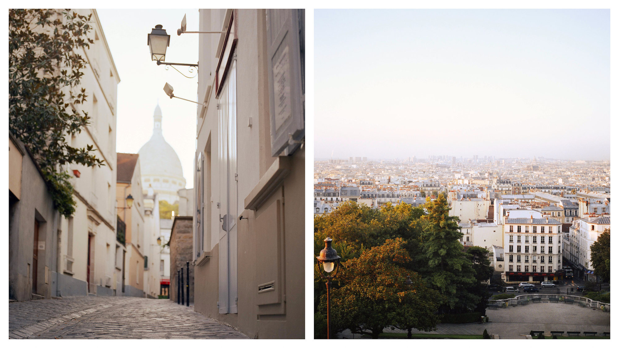 A quiet cobblestone street leading up the the Sacré Coeur Basilica in Montmartre, Paris (left). A panoramic view of the Paris rooftops from the Sacré Coeur in Montmartre (right).