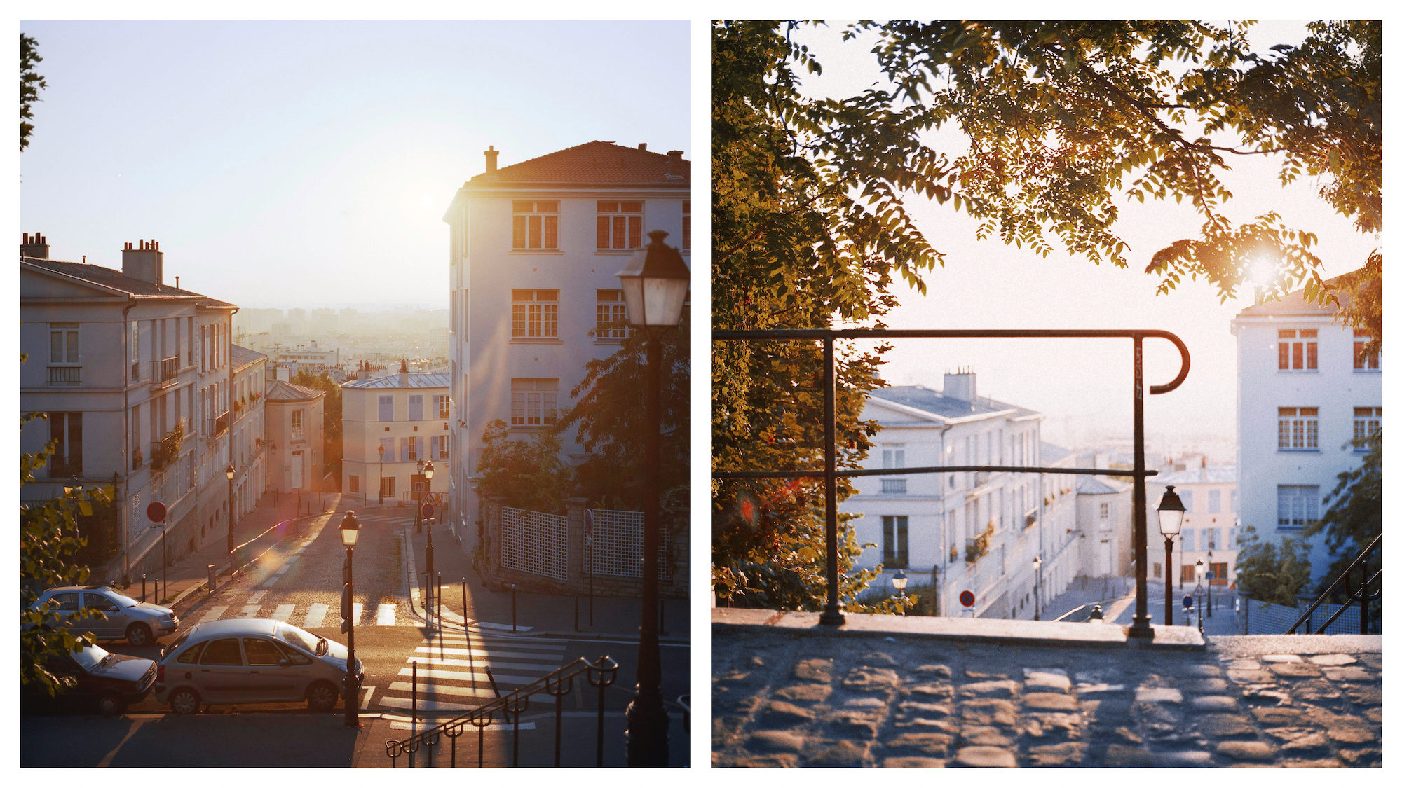 A sleepy street bathed in golden sunlight as the sun rises in Montmartre in Paris (left). The cobblestone stairs of Montmartre bathed in golden sunlight  in spring (right).