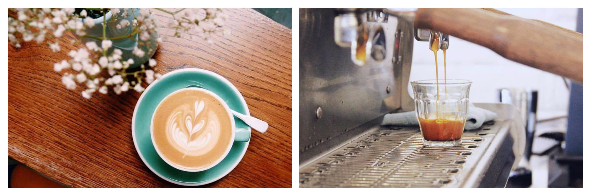 Alternative co-working spaces in Paris include 5 Pailles, which does pretty lattés in turquoise ceramanic cups (left) and is known for having a good barista (right).