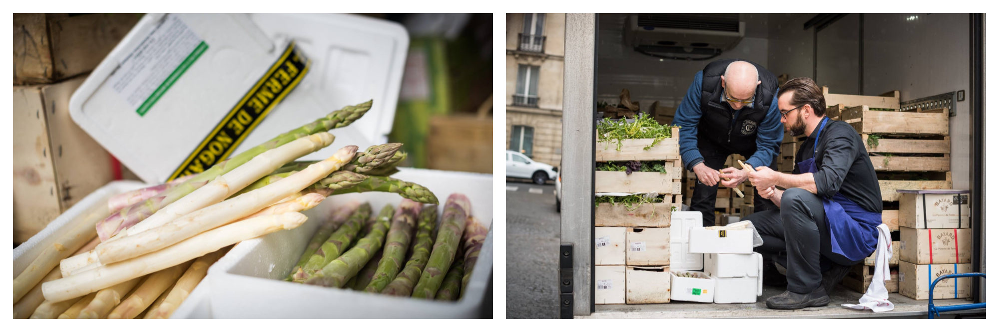 Afterwork des Producteurs, where visitors can enjoy drinks and locally sourced produce like asparagus (left) and other farm-fresh veggies (right).