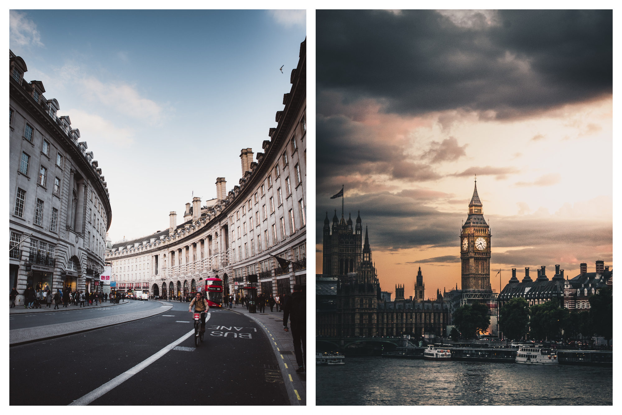 Regent's street in London and its white stone buildings (left). The Big Ben in London close to the Thames River (right).