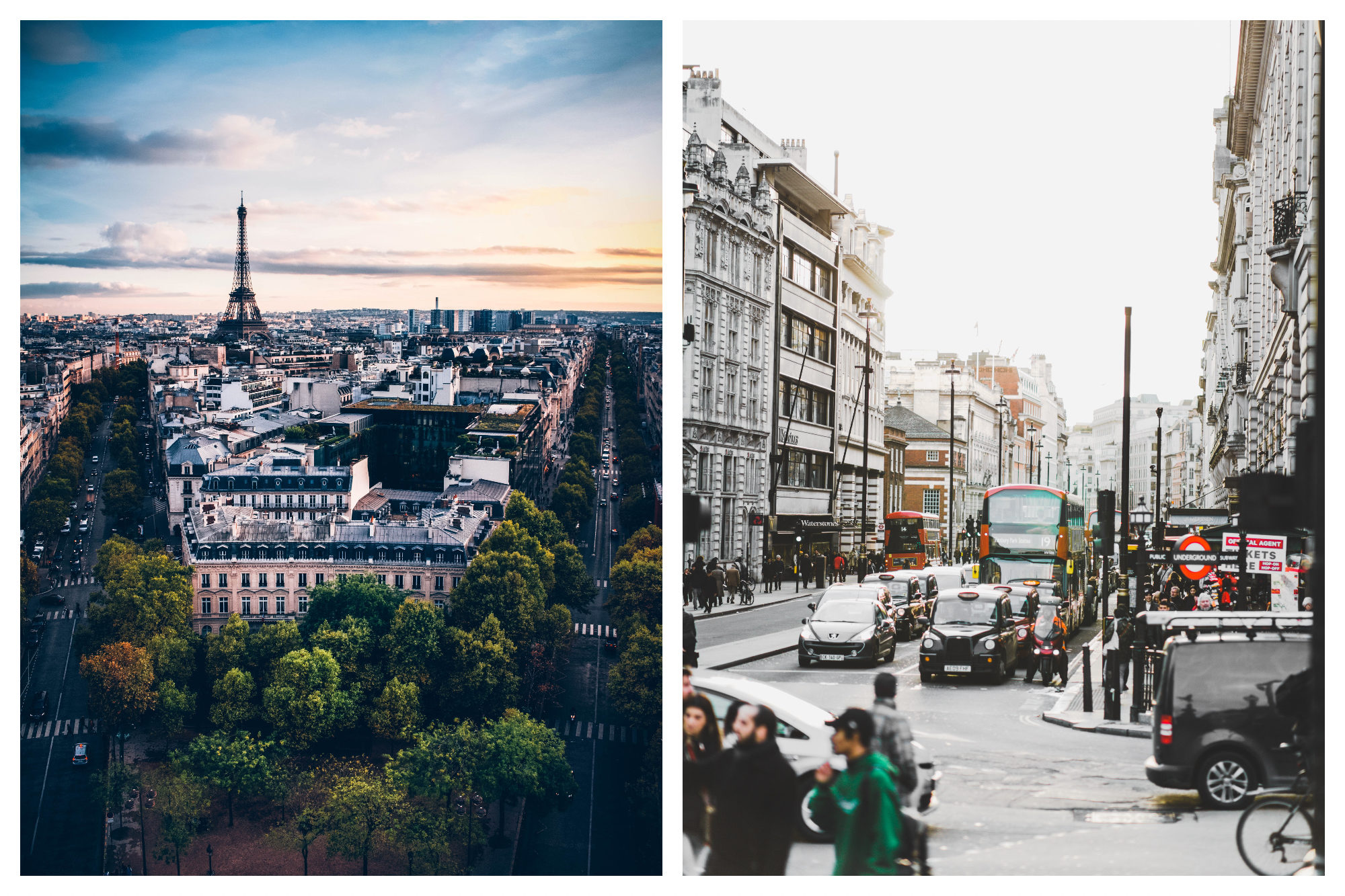The Eiffel Tower on the Paris skyline (left). A busy street in London (right).