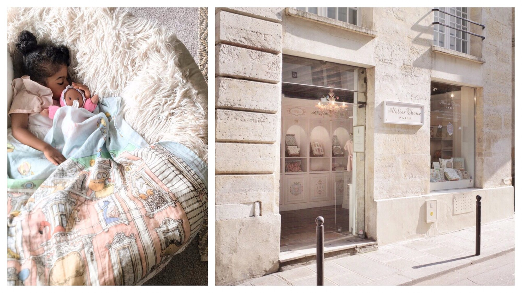 A little girl sleeping with her doll in a fluffy cushion chair (left). Outside Atelier Choux, a Parisian store for kids' clothing (right).