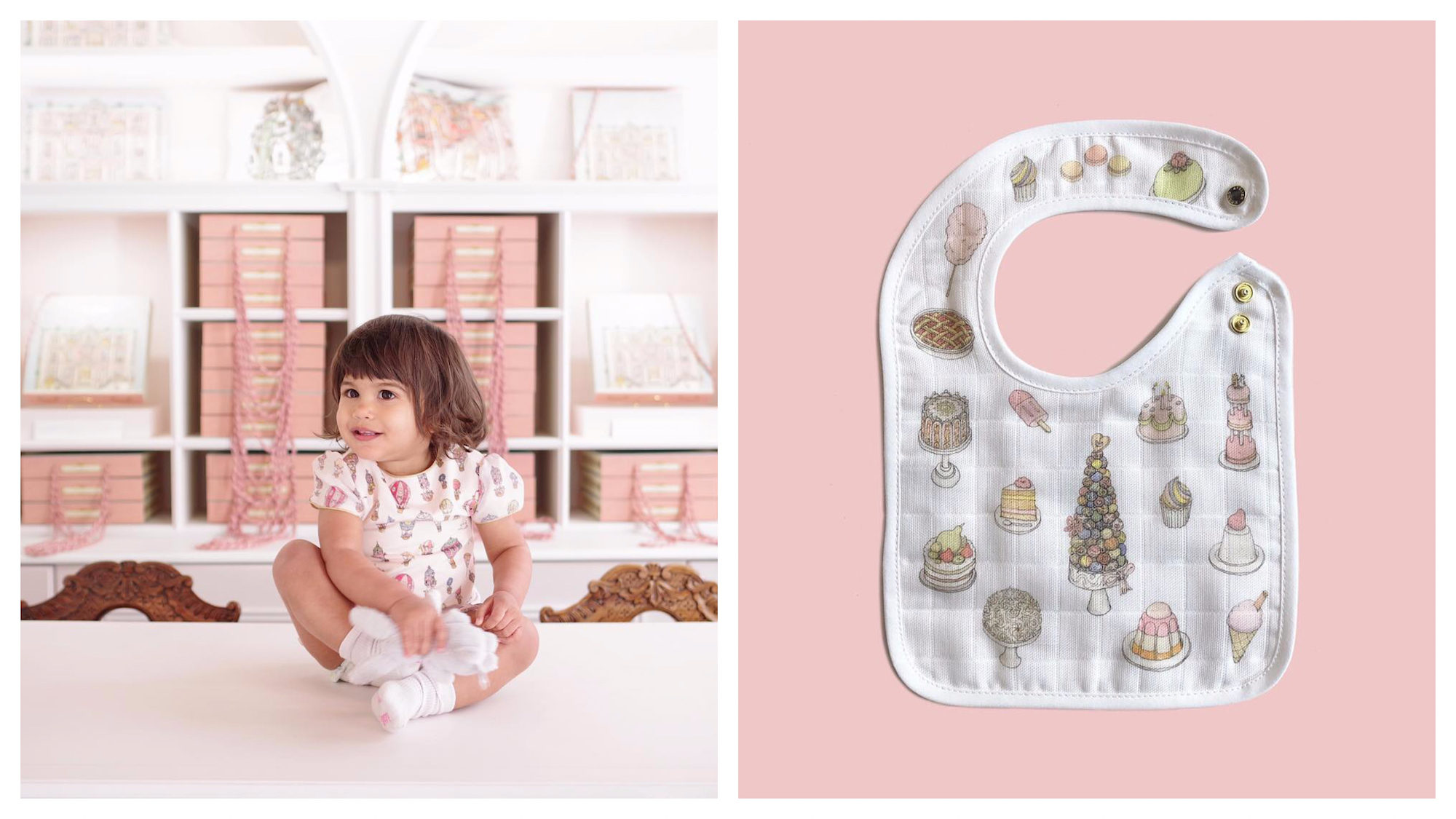 A baby girl sitting the counter of a patisserie wearing a cute outfit from Atelier Choux (left). A bib printed with cute pictures of cakes and ice creams (right).