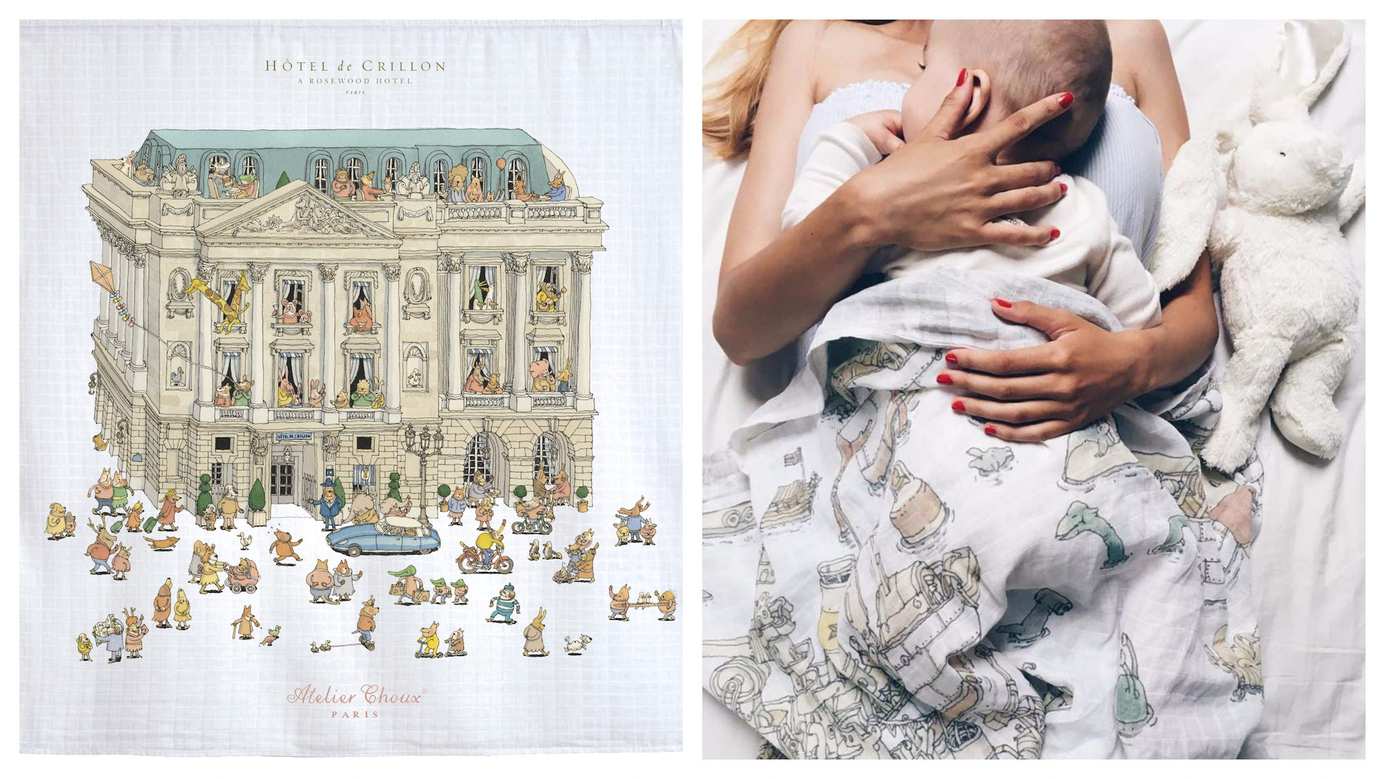 Pints by Atelier Choux Parisian baby boutique (right). A mother lying down with her baby rapped up in an Atelier Choux blanket (right).