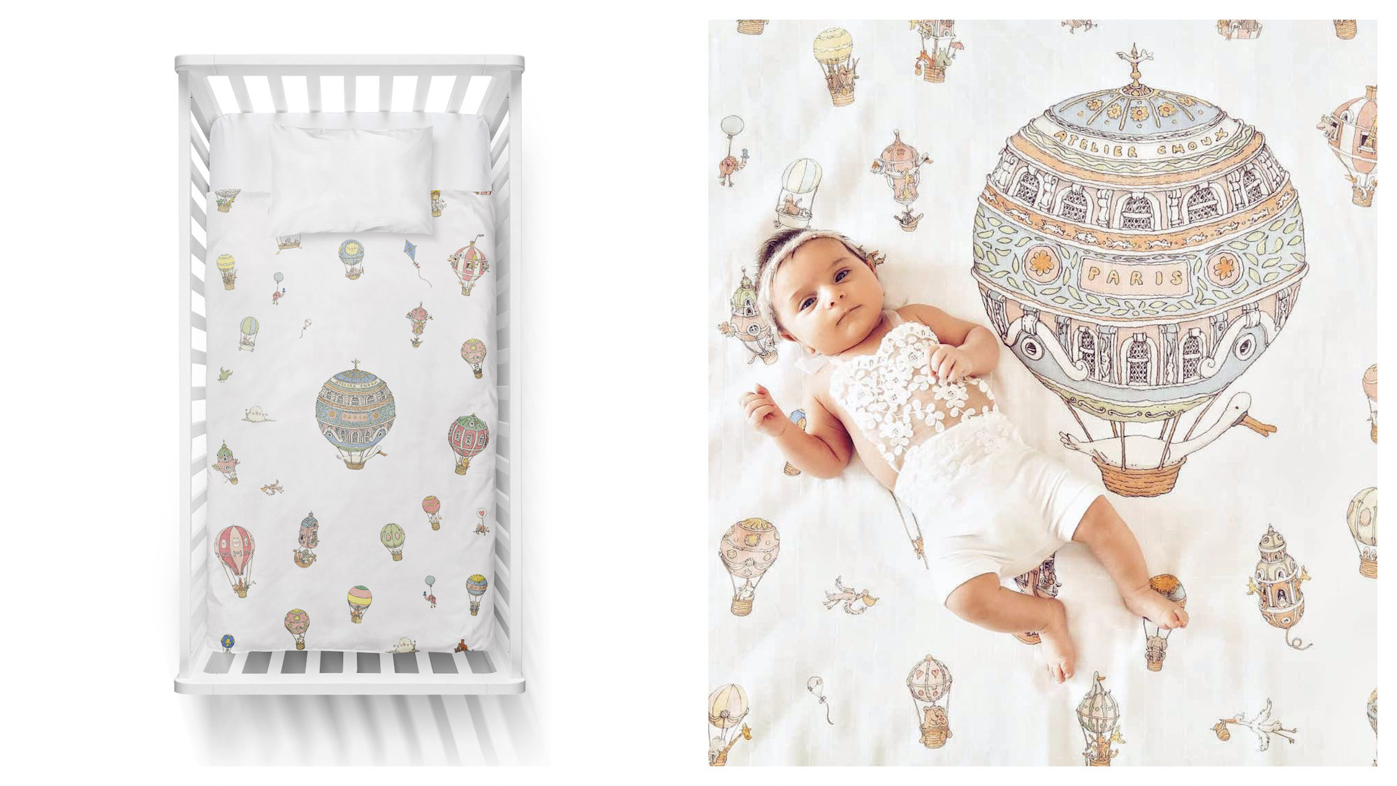 A crib with a patterned mattress with hot air balloons on it from Atelier Choux (left). A baby lying on a hot air balloon blanket (right).