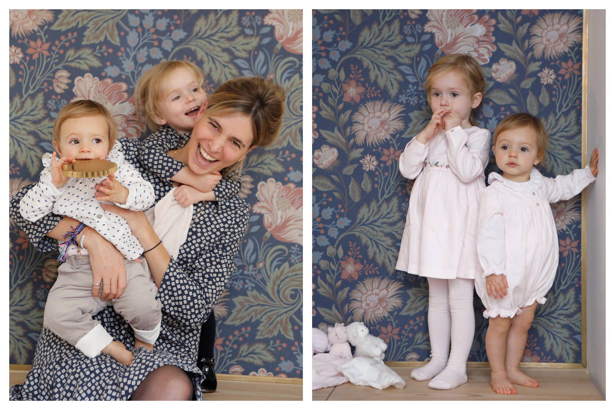 A mother laughing with her two children against a backdrop of swirling flower-print wallpaper (left). Two little girls standing in front of the same wallpaper, dressed in outfits from Tartine et Chocolat (right).