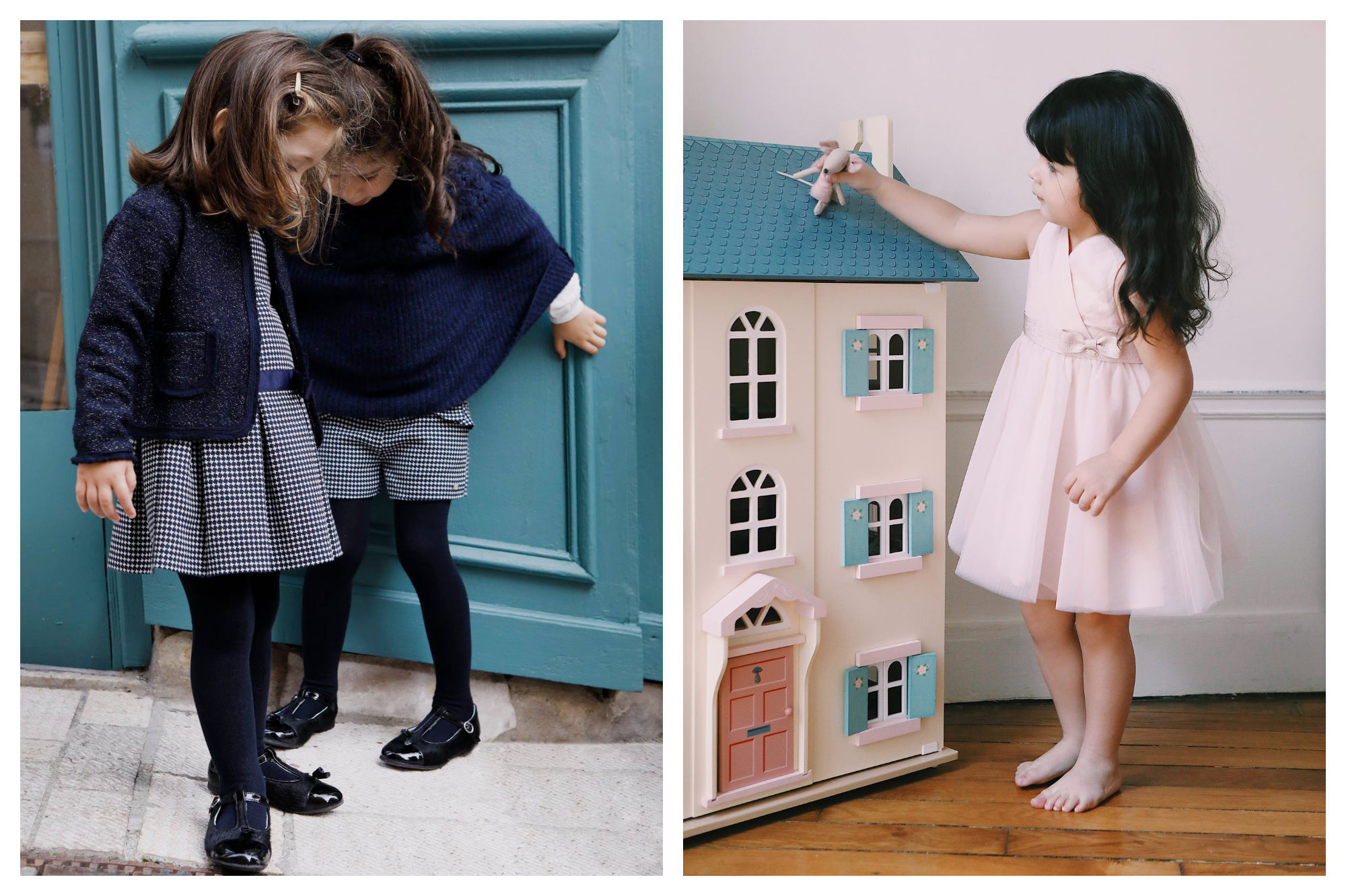 Two little girls wearing navy cardigans and shawls with matching woolly tights and polished black shoes (left). A little girl wearing a pink princess dress from Parisian chlidren's clothing brand Tartine et Chocolat while playing with a dolls' house (right).