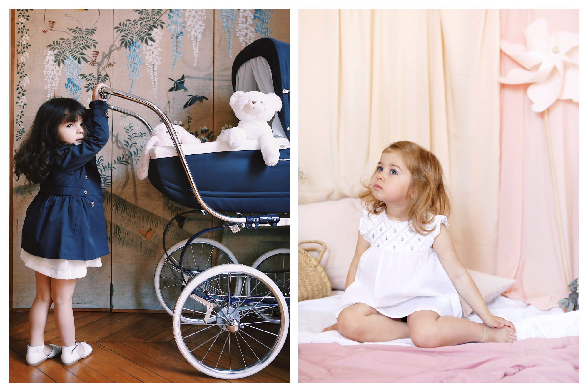 A little brown-haired girl dressed in a navy coat pushing a stroller with teddy in it (left). A little blonde girl wearing a white dress from Tartine et Chocolat and sitting on a bed (right).