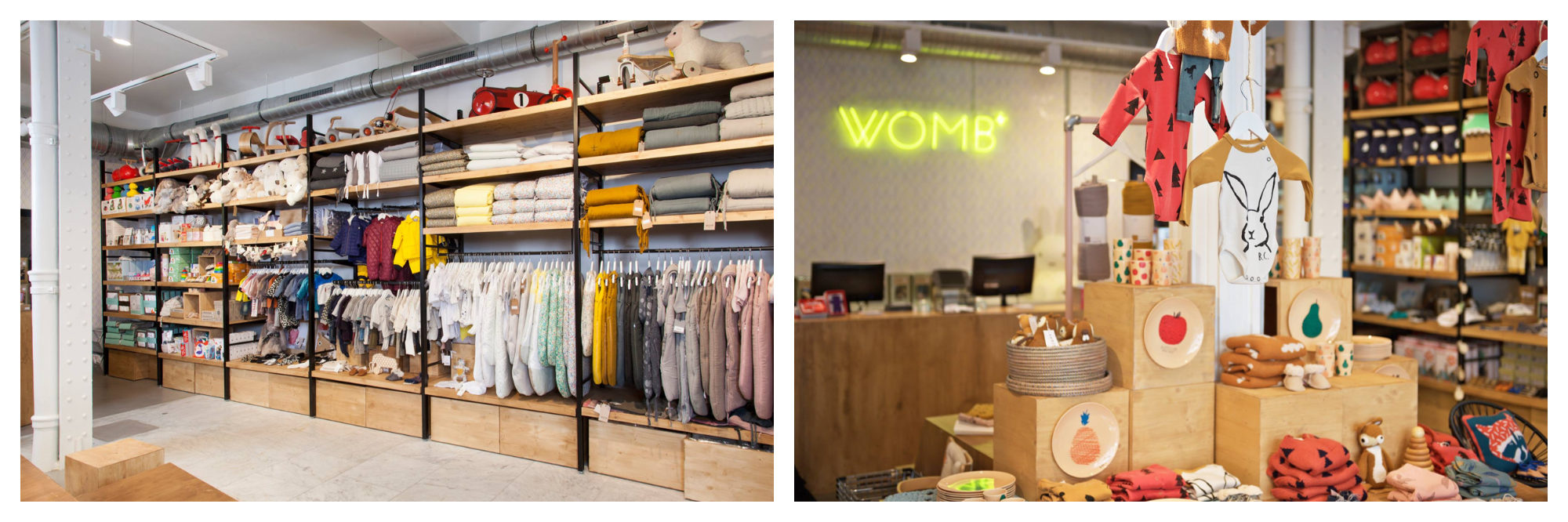 Clothing rails and shelves at Paris kids' store WOMB (left). A display of clothes at WOMB (right).