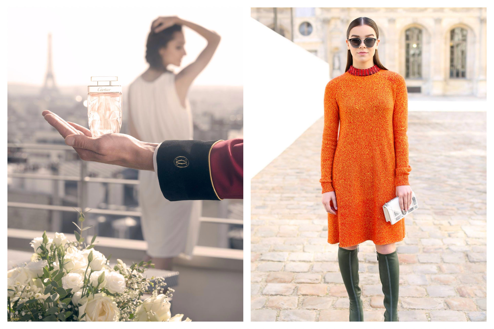 Cartier should be top of your shopping list also for its perfumes (left), as well as Dior for its striking outfits like this casual orange dress (right).