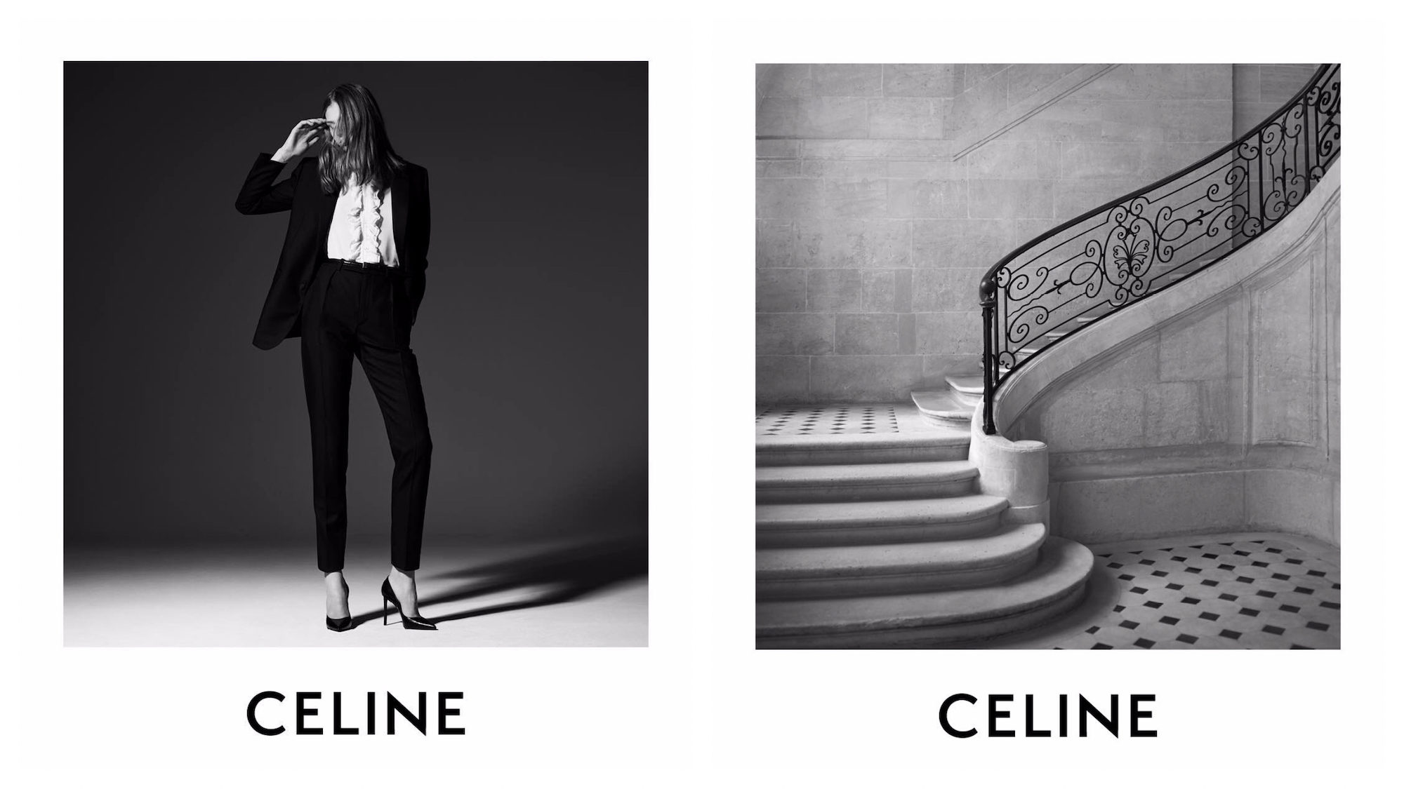 Celine is the name to know when shopping in Paris for its sleek suits (left) but also the interiors of the flagship store alone, like this period stone staircase (right).