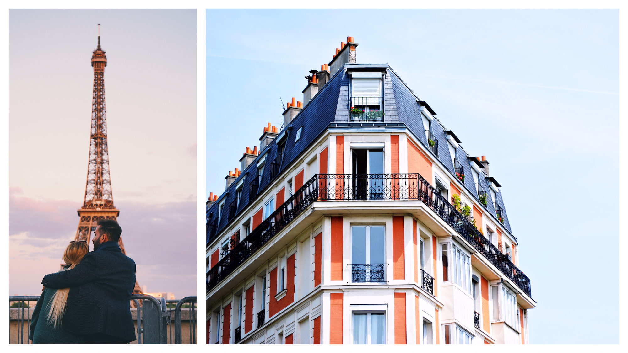 A couple look at the Eiffel Tower (left). An apartment building in Paris (right).