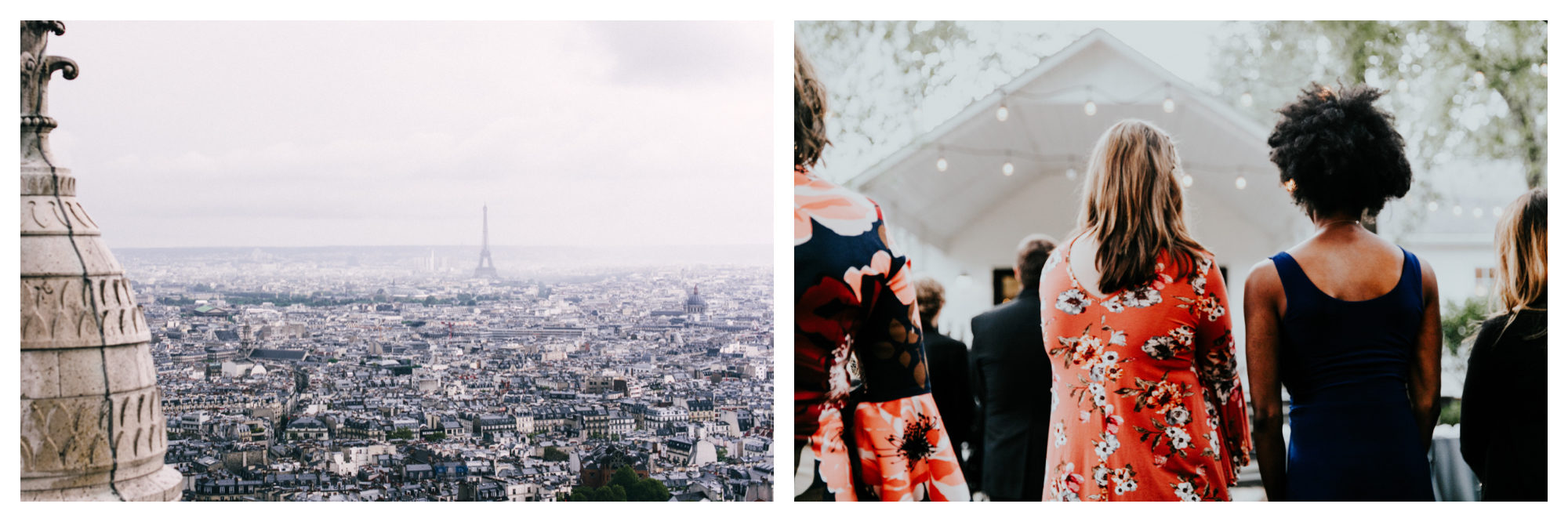 The view of Paris from the Sacré Coeur, with the Eiffel Tower in the background (left). A couple at a concert (right).