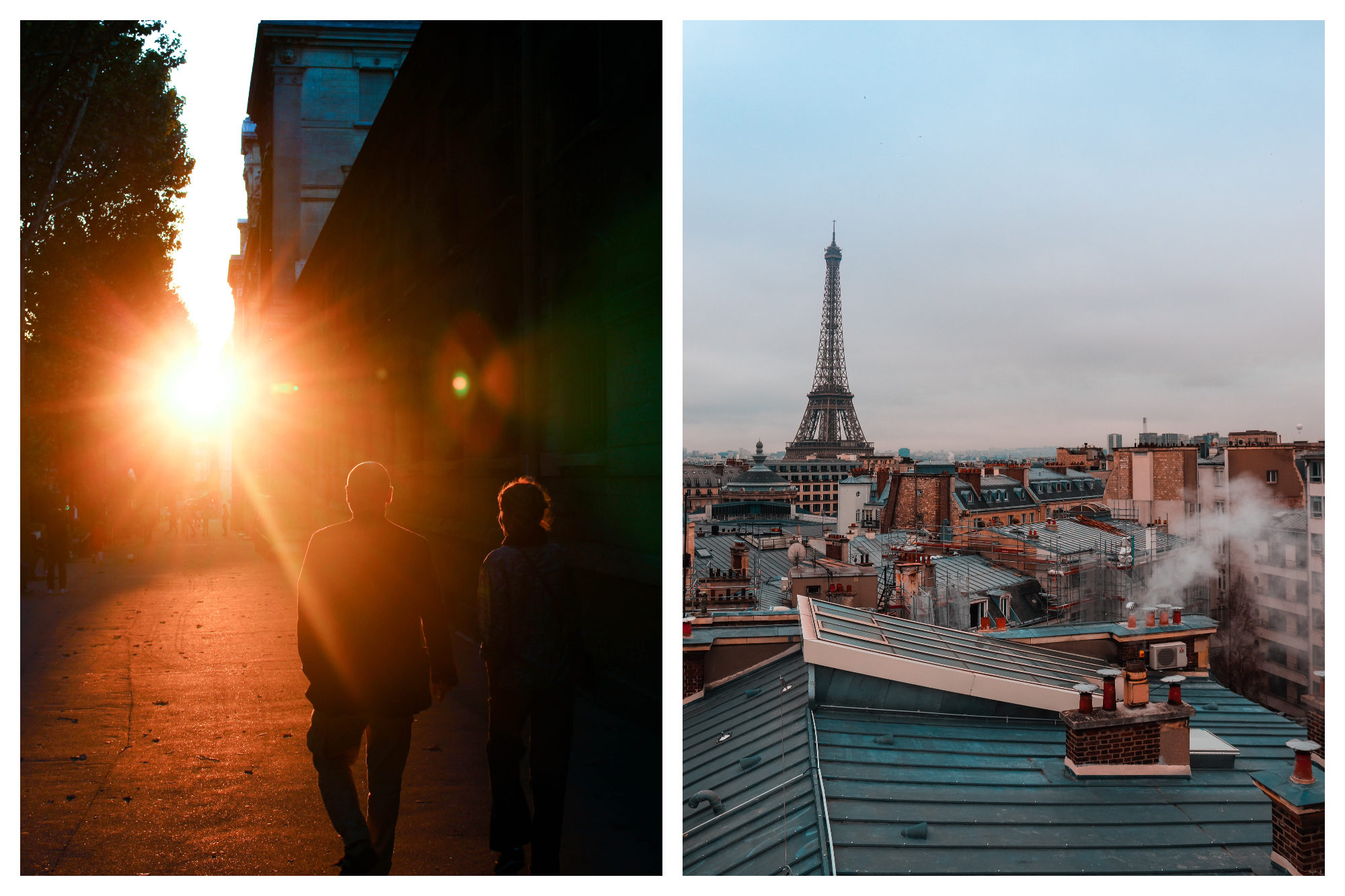 A couple strolling the streets of Paris at sunset (left). The Paris rooftops with the Eiffel Tower in the background (right).