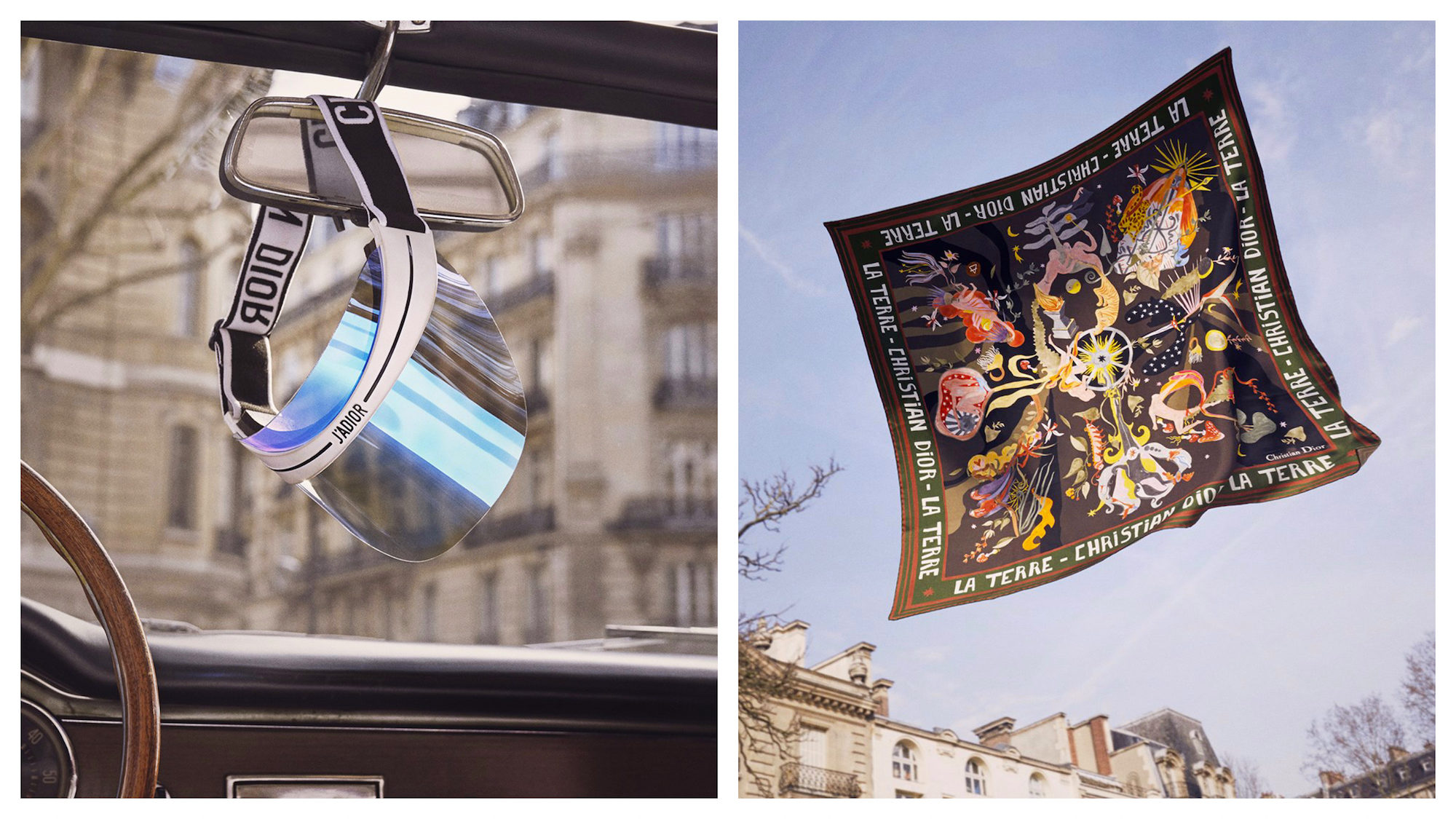Get the right Paris fashion accessories lilke this retro Dior cap hanging on the mirror of a convertible car (left) or this silk printed scarf (right).