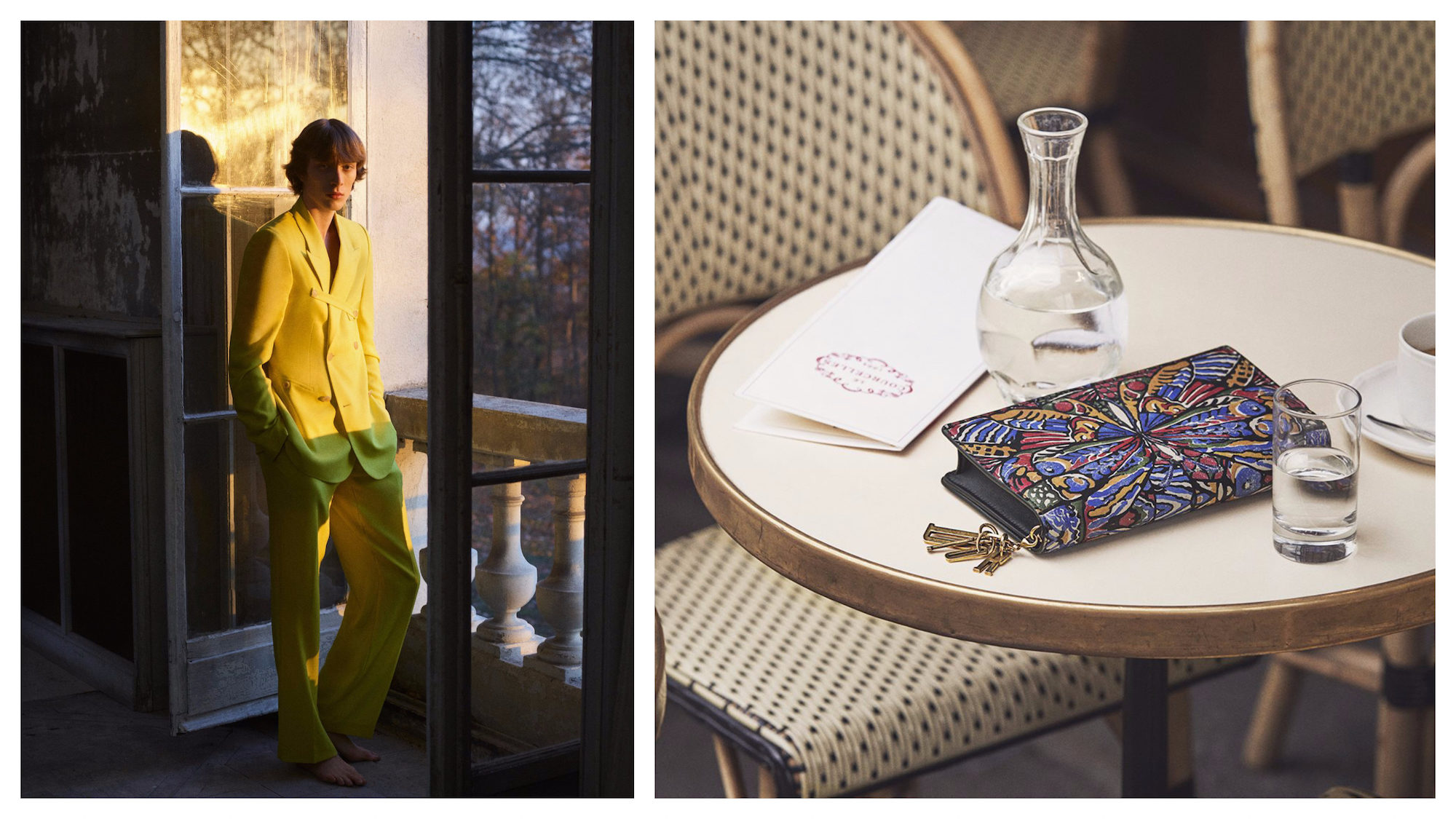 Paris shopping tips for where to buy the right suit like this yellow Dior number (left) and multi-colored clutch bag on a bistro table (right).