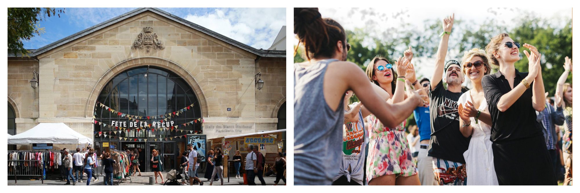 The Fête de la Récup upcylcing event in Paris will take place in the Marais (left). People enjoying the We Love Green music festival in Paris this June (right).