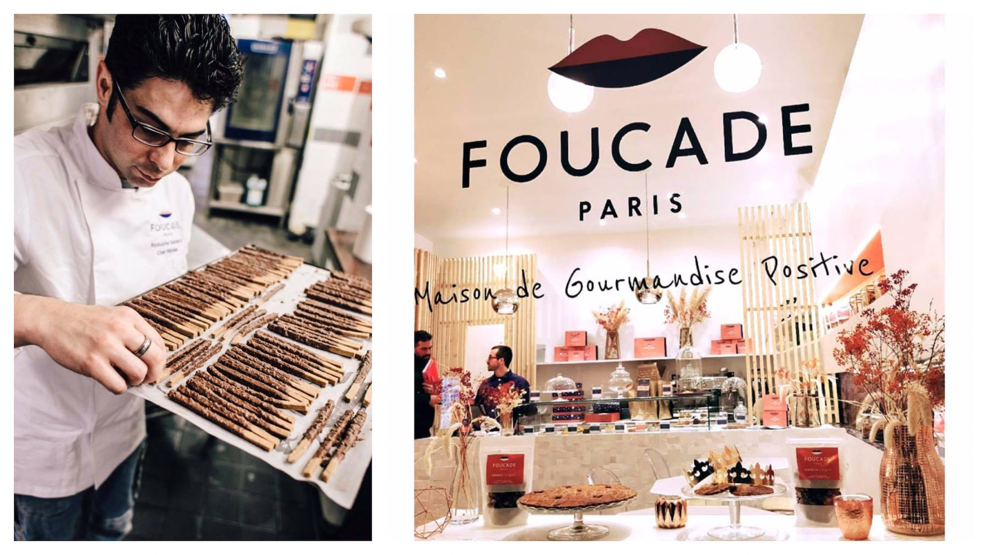 The baker at Foucade, gluten-free bakery in Paris (left) and its window with cakes displayed (right).