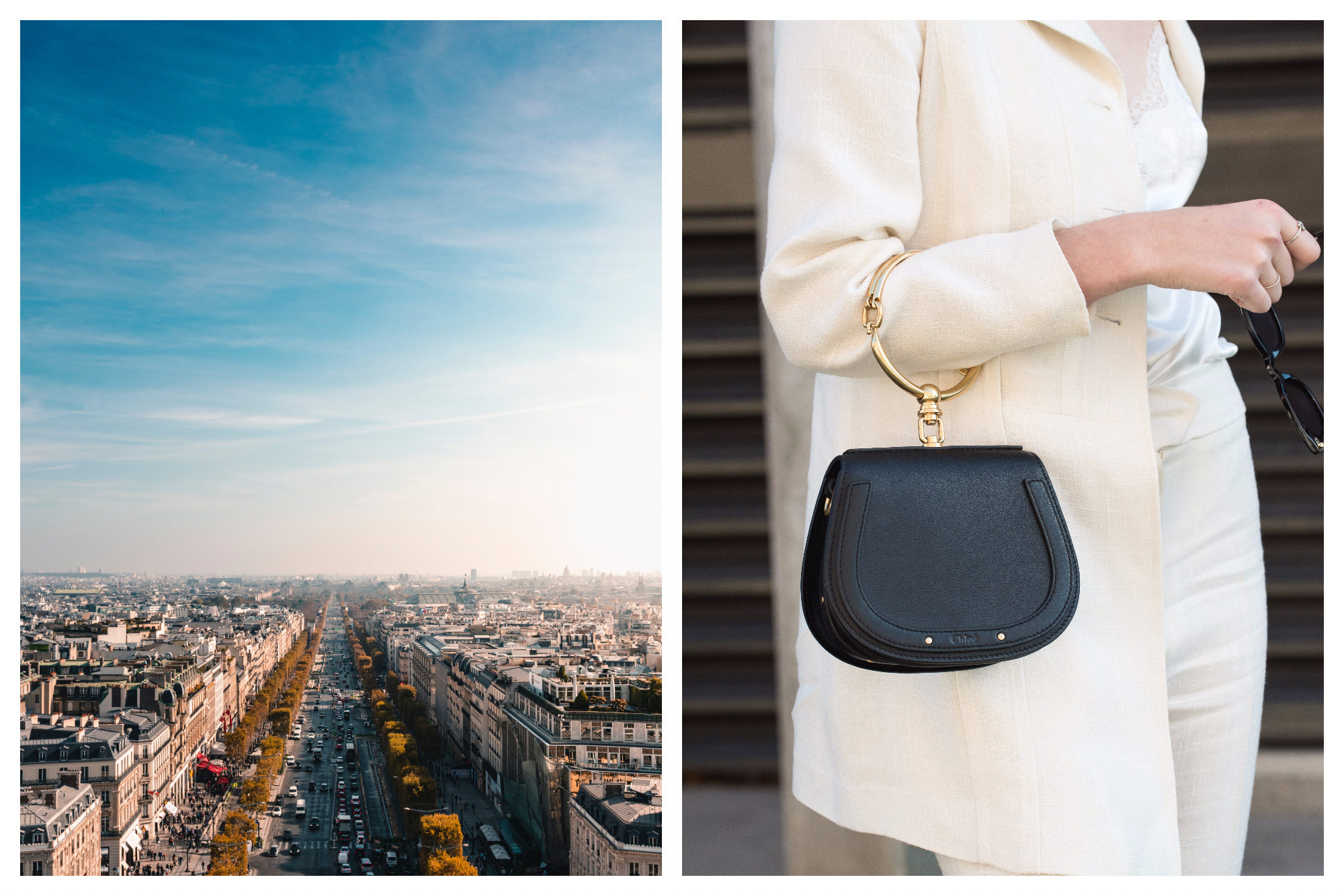 The view of the Champs Elysées in Paris against a blue sky (right). Where to shop for the right handbag in Paris like this smart black leather piece (right).
