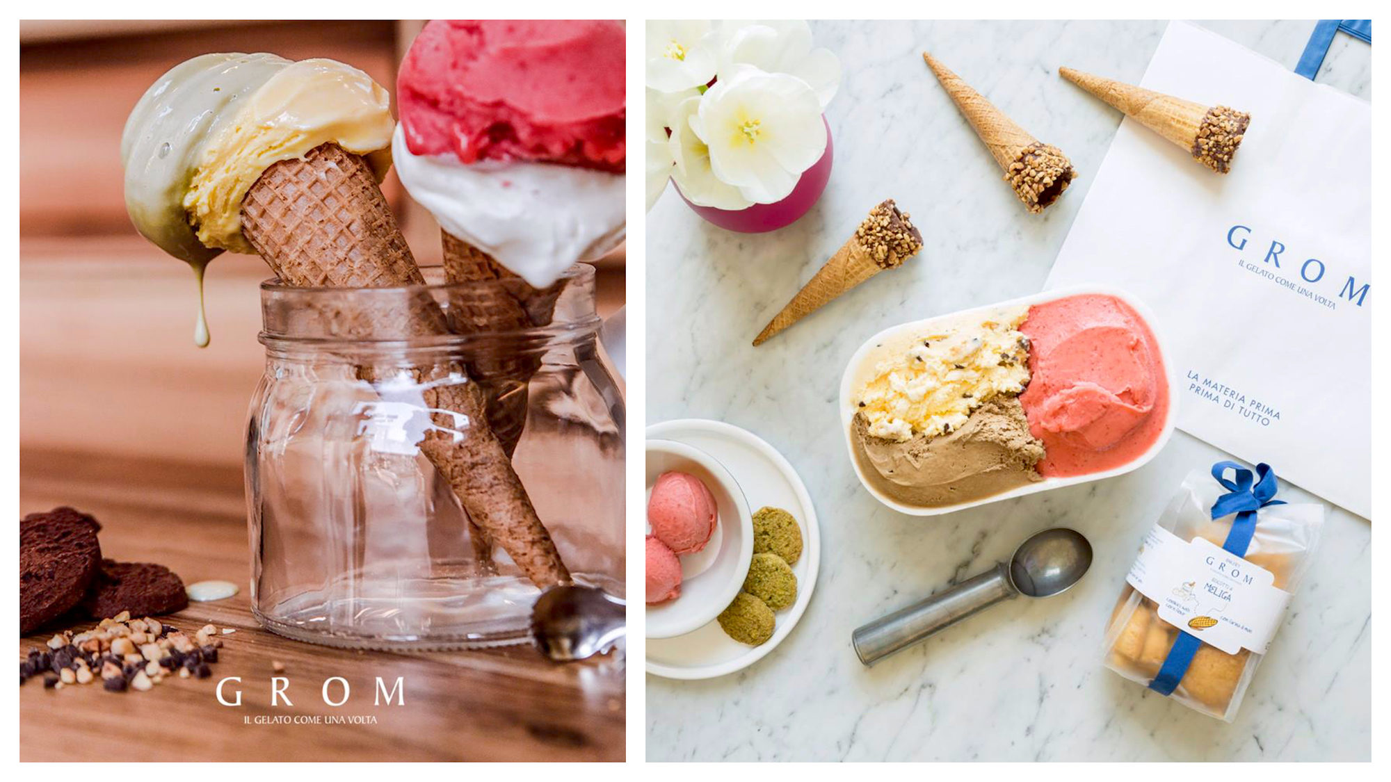 Colorful gluten-free ice cream in Paris from GROM.