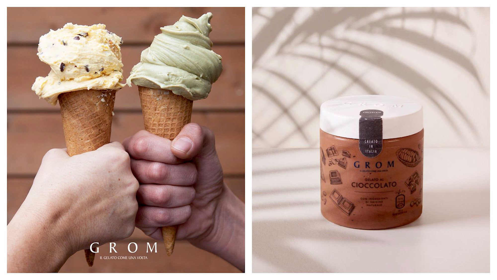 Buy gluten-free ice cream in Paris this summer at GROM, which serves generous portions of ice cream in cones (left) as well as chocolate spreads in pots to take home (right).