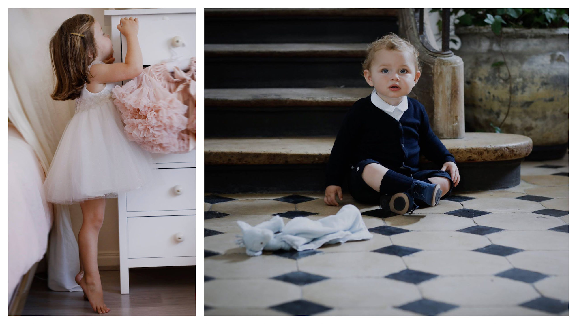 A little girl wearing a tutu and standing on tiptoe while peeping inside a drawer (left). A toddler wearing a chic navy cardigan and matching boots, sitting on tiled floors by a wooden Parisian staircase (right).