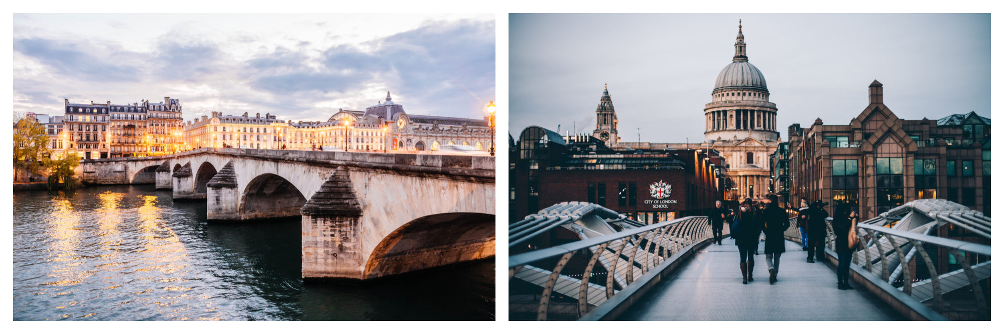 Paris at sunset, a stone bridge straddling the River Seine (left). London's Millenium Bridge with Saint Paul's Cathedral in the background (right).