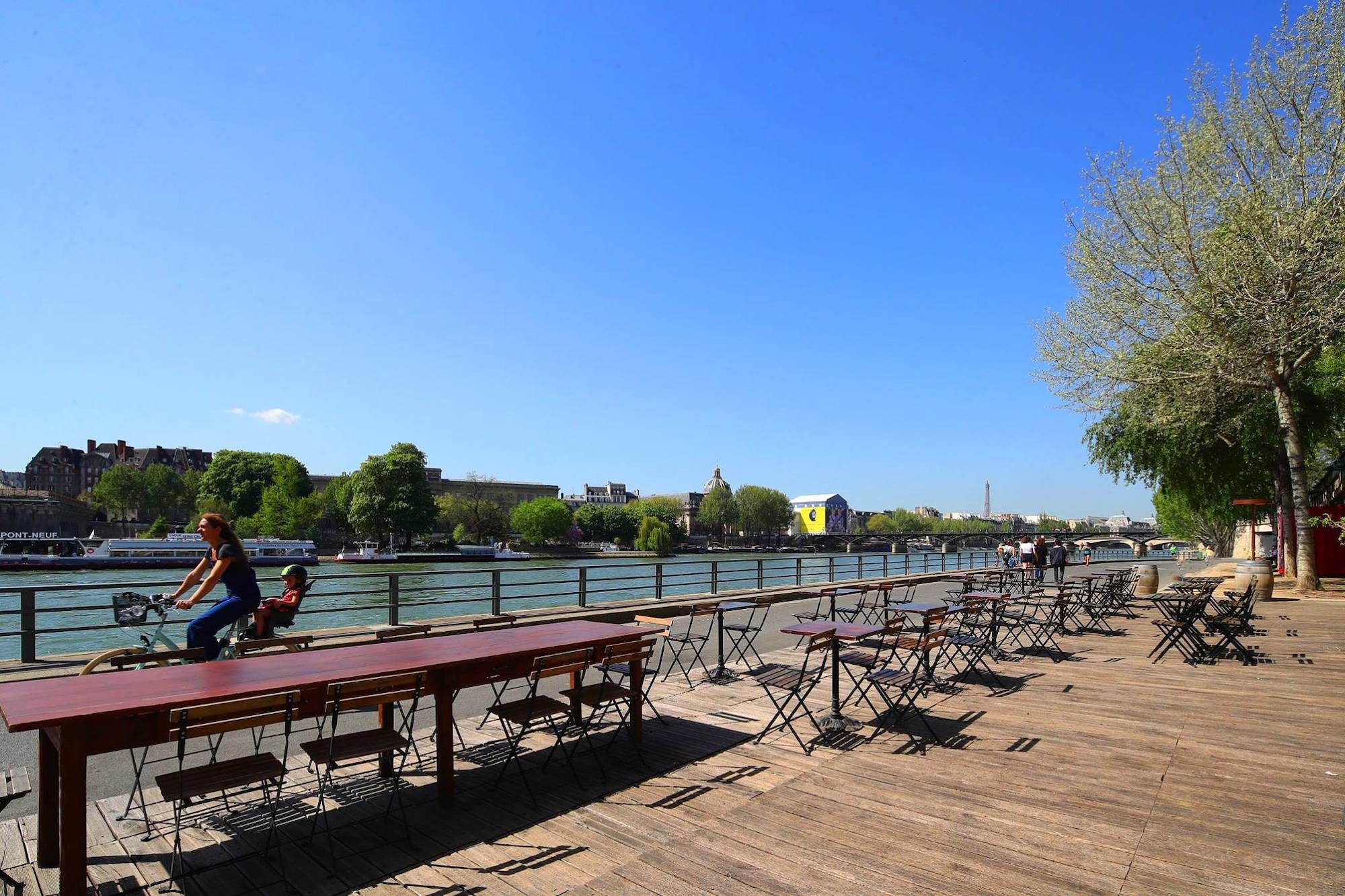 One of our favorite terraces in Paris along the River Seine in summer.