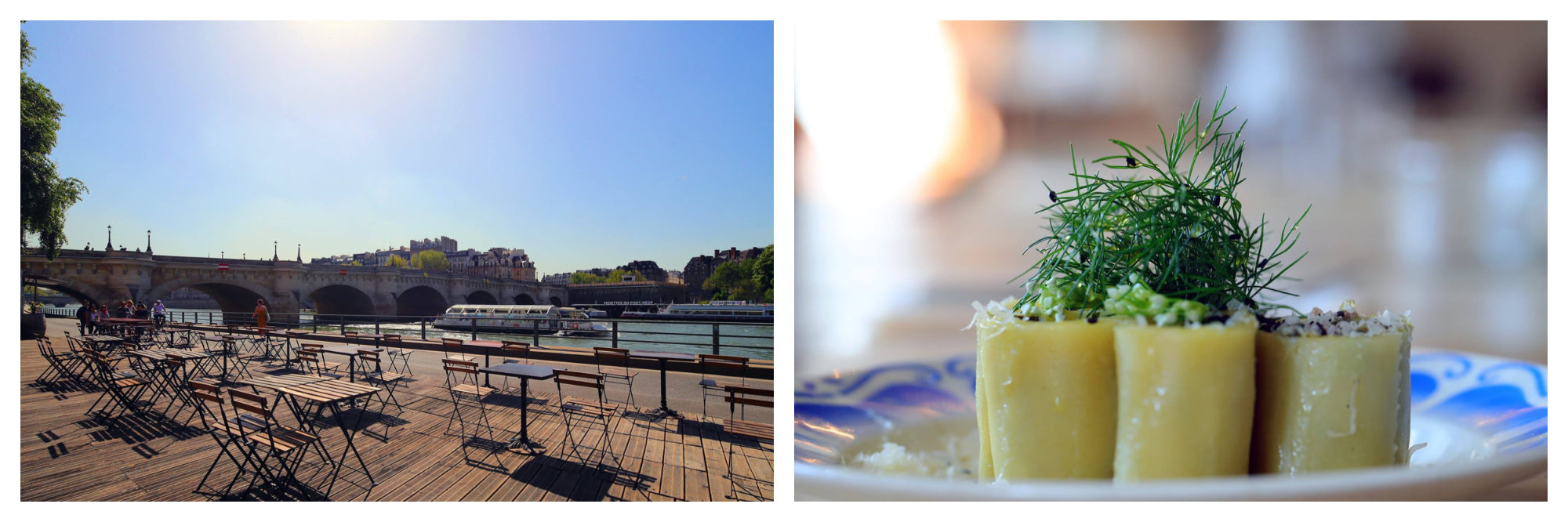 Maison Maison terrace in Paris is a top spot for drinks on the River Seine (left) as well as healthy snacks like these quinoa rolls (right).