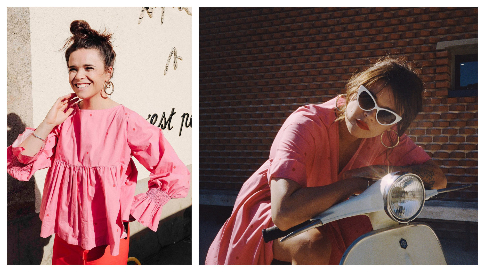 A French brand you have to know to look like a Parisian is Make My Lemonade for its retro pieces like this pink frill cuff blouse (left) and pink cotton dresses teamed with white-rimmed vintage shaped sunglasses (right).