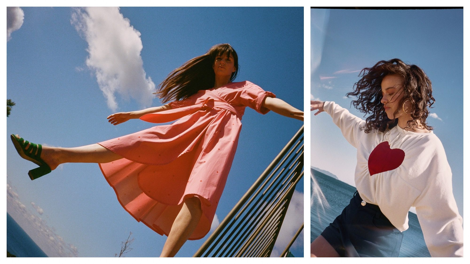 What to buy to look like a Parisian? Anything from Make My Lemonade, a fashion brand Parisians love for its retro cuts like this coral cotton dress (left) and heart-print white sweater (right).