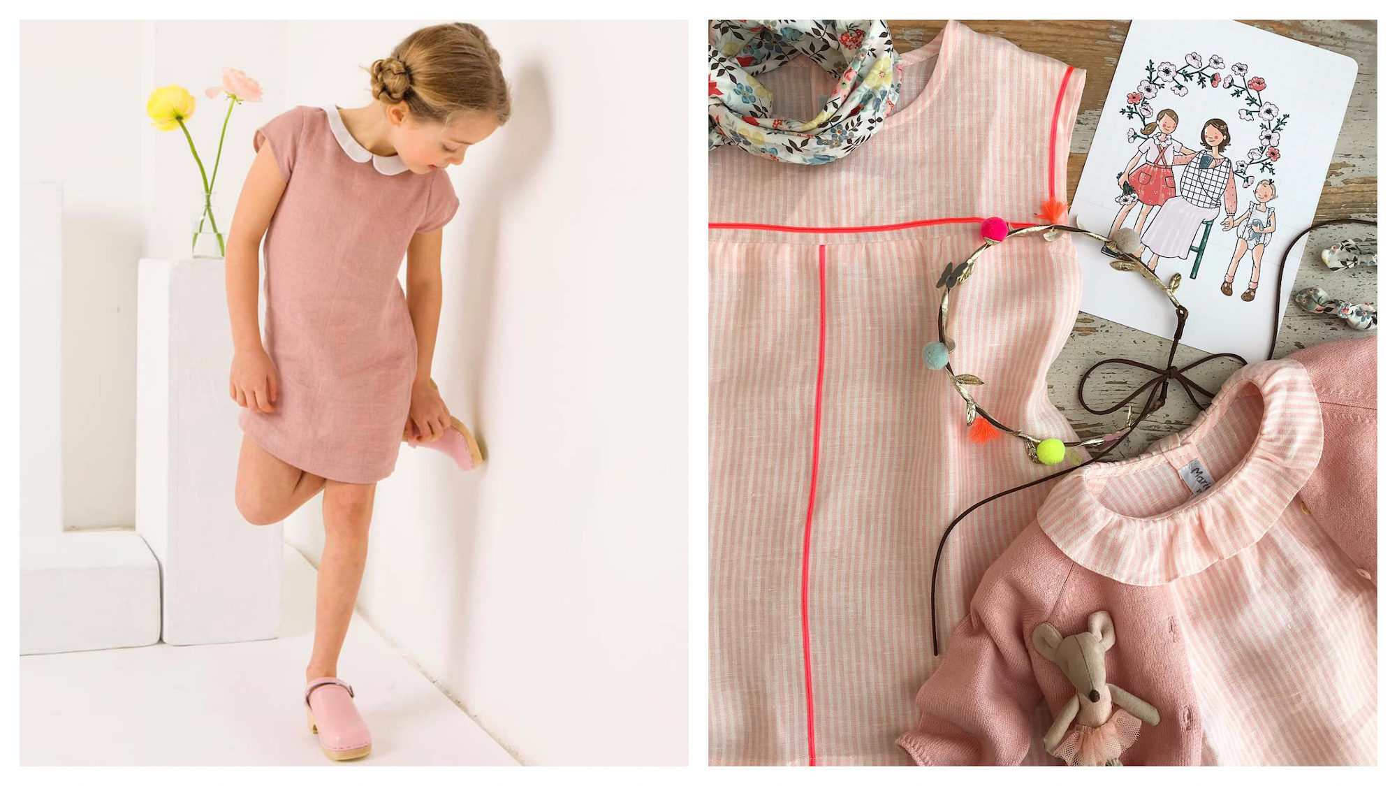 A little girl wearing a pink claudine-collar dress from Marie Puce (left). A selection of pink clothes for little girls (right).