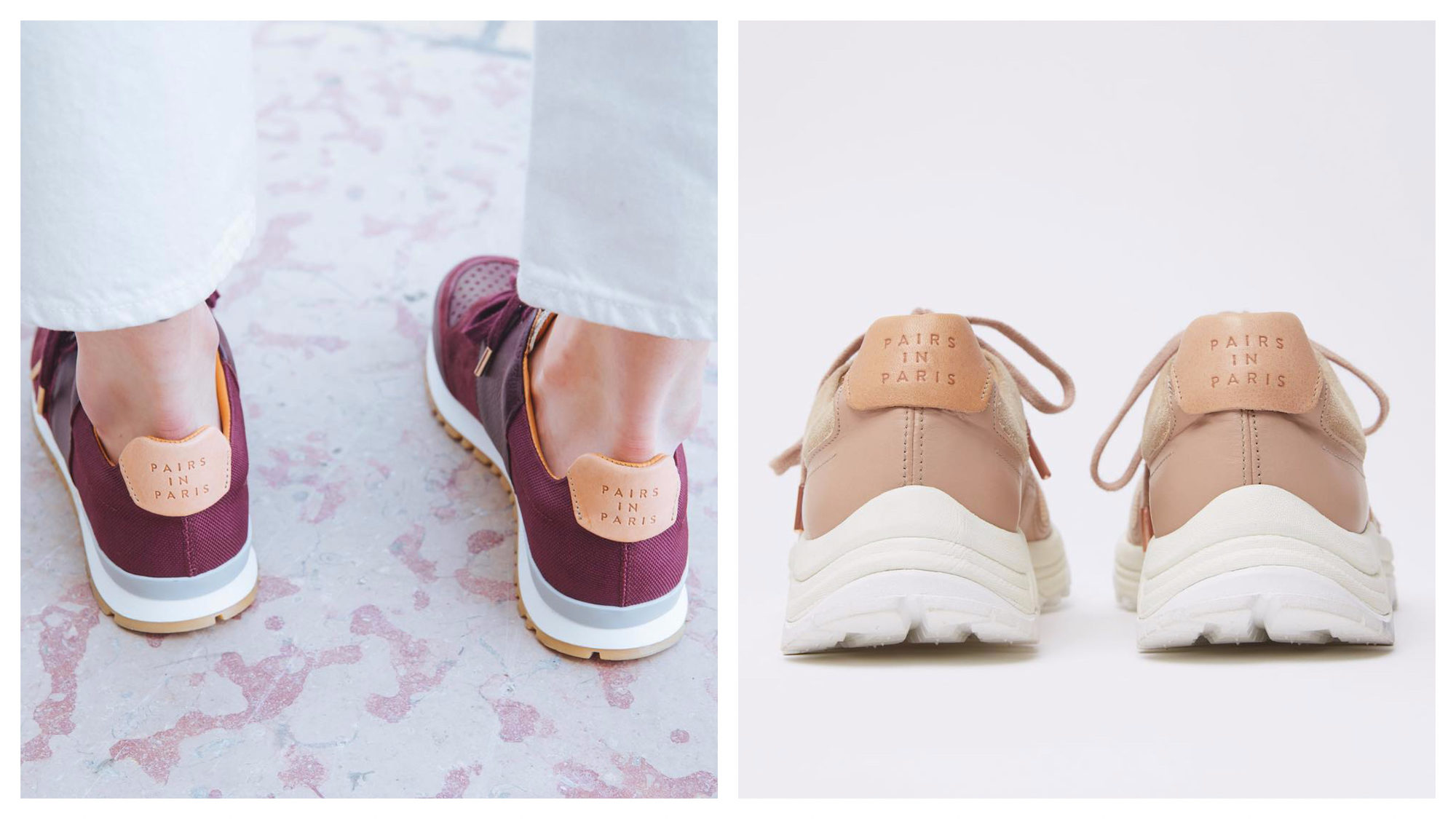 The Parisian shoe brand to shop is Paris in Paris, for its comfortable sneakers that come in different colors like this dark red ones (left) and beige pair (right).