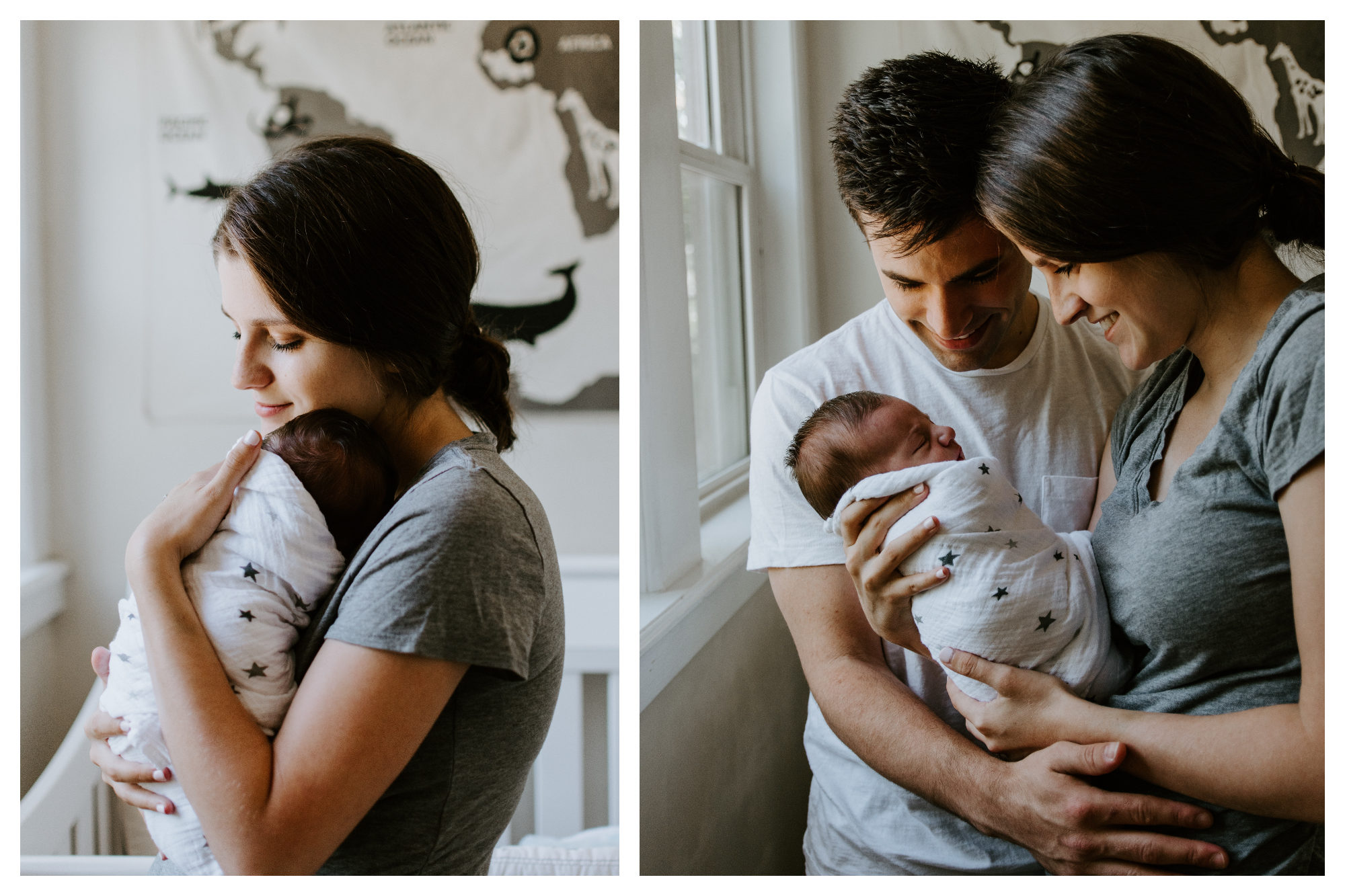 Parenting in Paris can be tricky, so it's important to be able to meet like-minded parents, like this mother holding her newborn baby (left). A mother and father looking at the newborn baby (right).