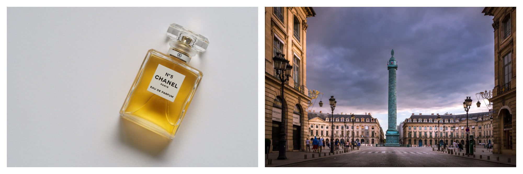 Get the right perfume from Chanel in Paris (left), and the right jewelry from iconic Place Vendome (right).