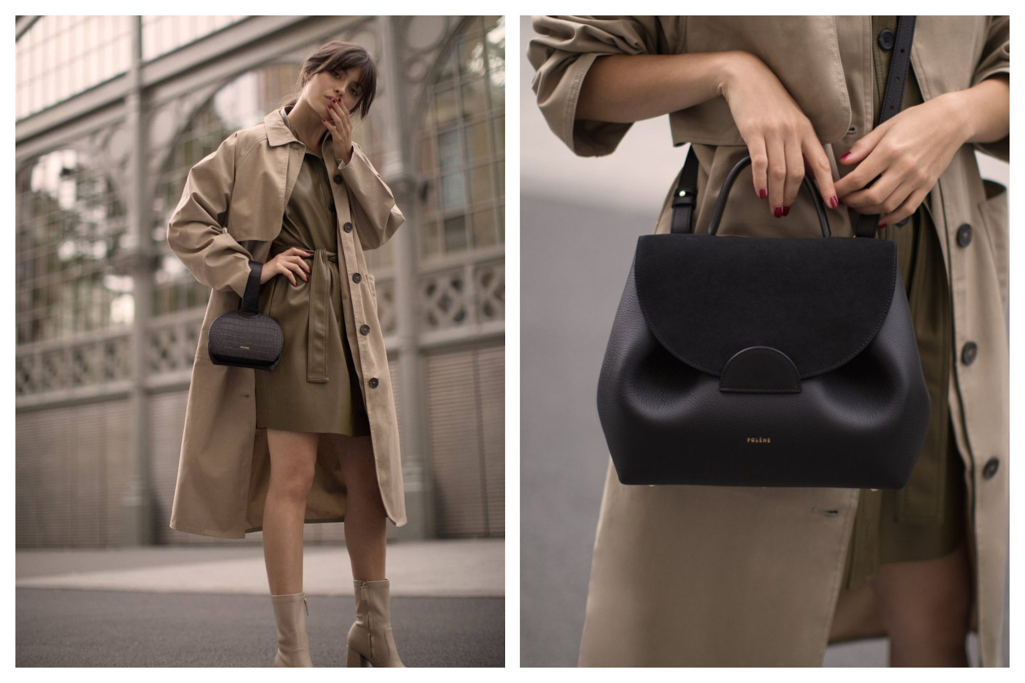 A Polène bag is the Parisian fashion essential, like this wrist bag (left) and well-cut black leather piece (right).