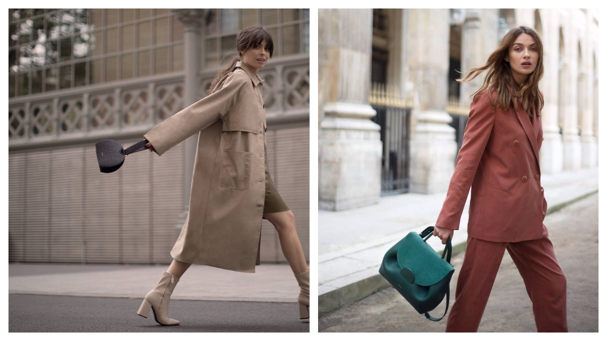 Parisian fashion style is about looking effortlessly chic, like this brunette wearing a beige mac and matching square-heeled mid-calf boots with a knee-length skirt (left) or this model wearing a loose-fitting terracotta suit paired with a turquoise leather handbag (right).