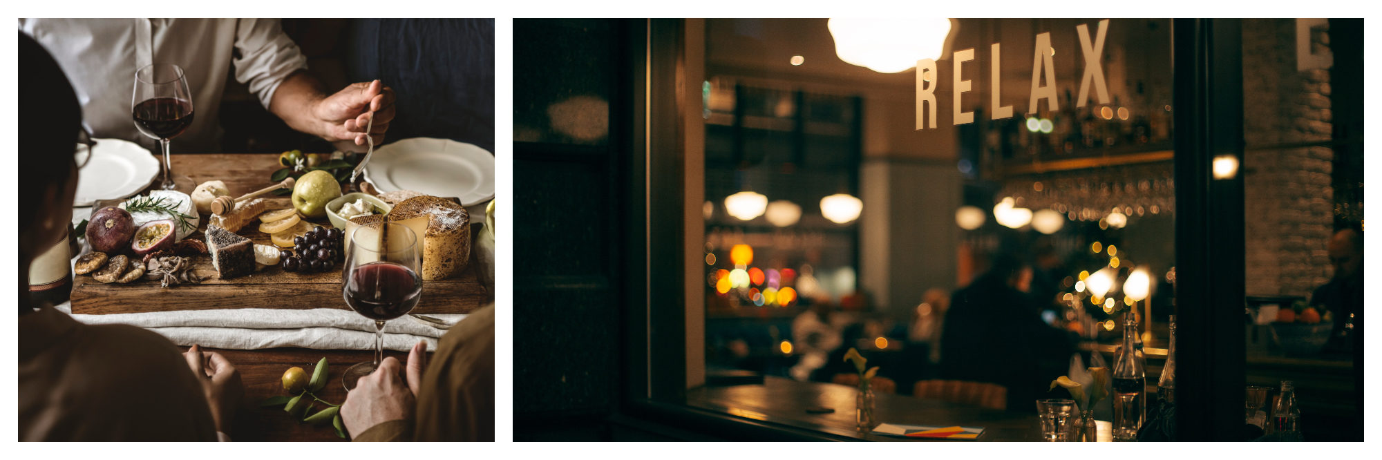 After work in Paris, locals like to enjoy ham and cheese with wine at home (left) whereas in London, people tend to head out for a drink at a bar (right).