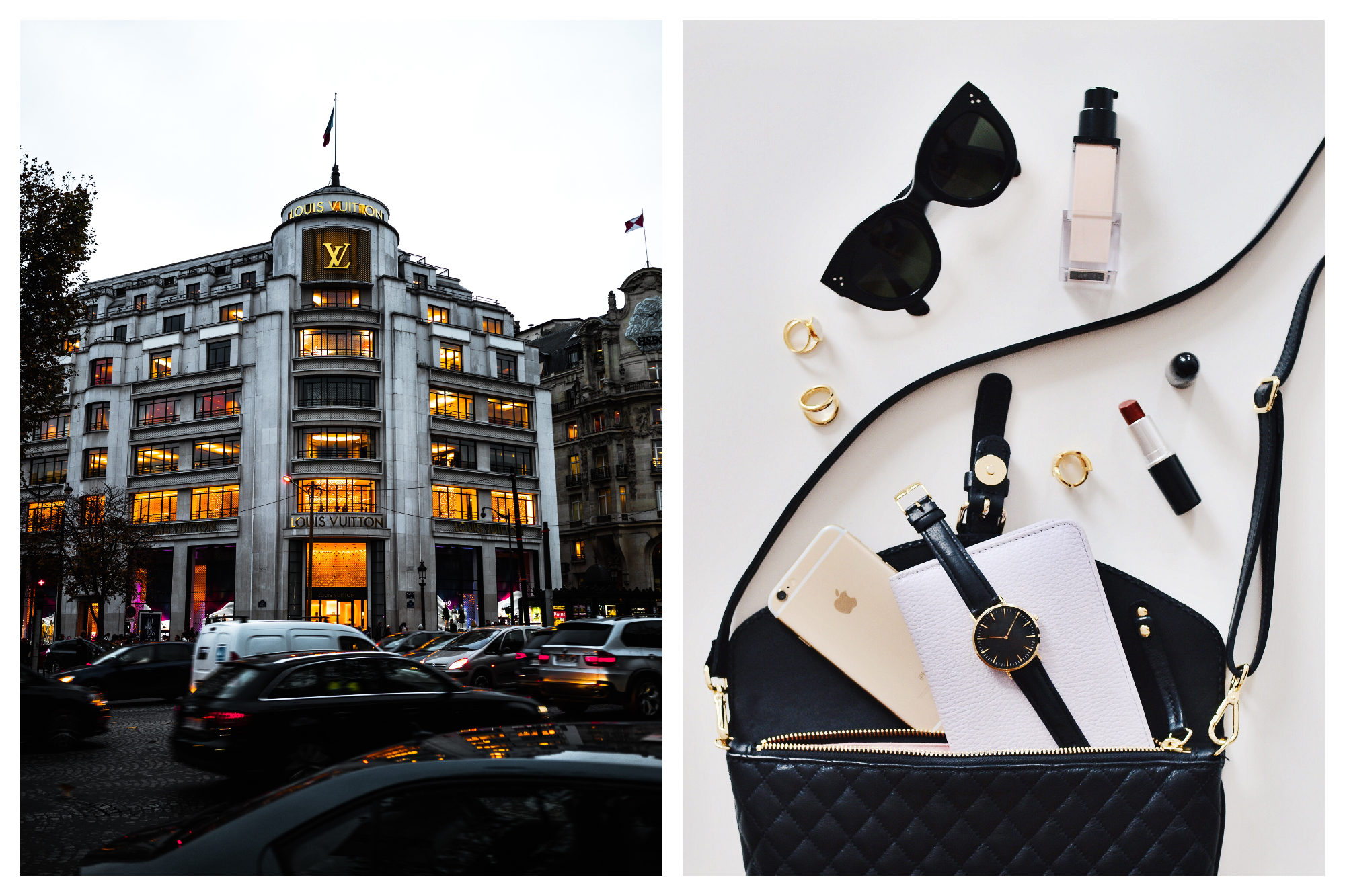 Louis Vuitton on the Champs Elysées is the temple of shopping in Paris with queues often snaking right around the corner (left). Make sure you know where to shop in Paris for your makeup essentials (right).