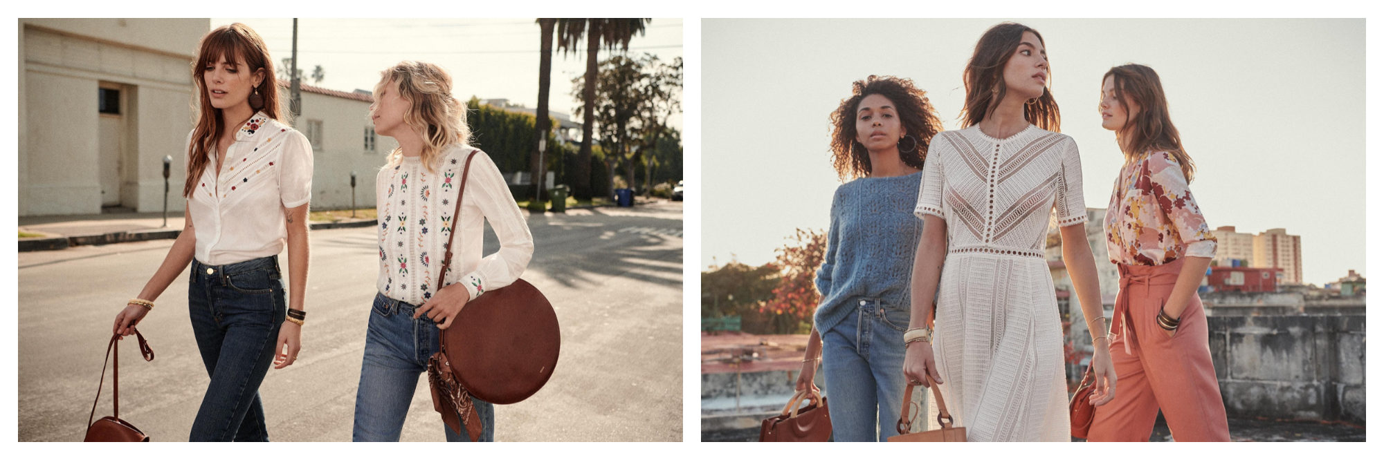 Parisian fashion brand Sézane is also know for its leather bags, like these large round pieces, as well as its well-cut white blouses (left) and dresses (right).