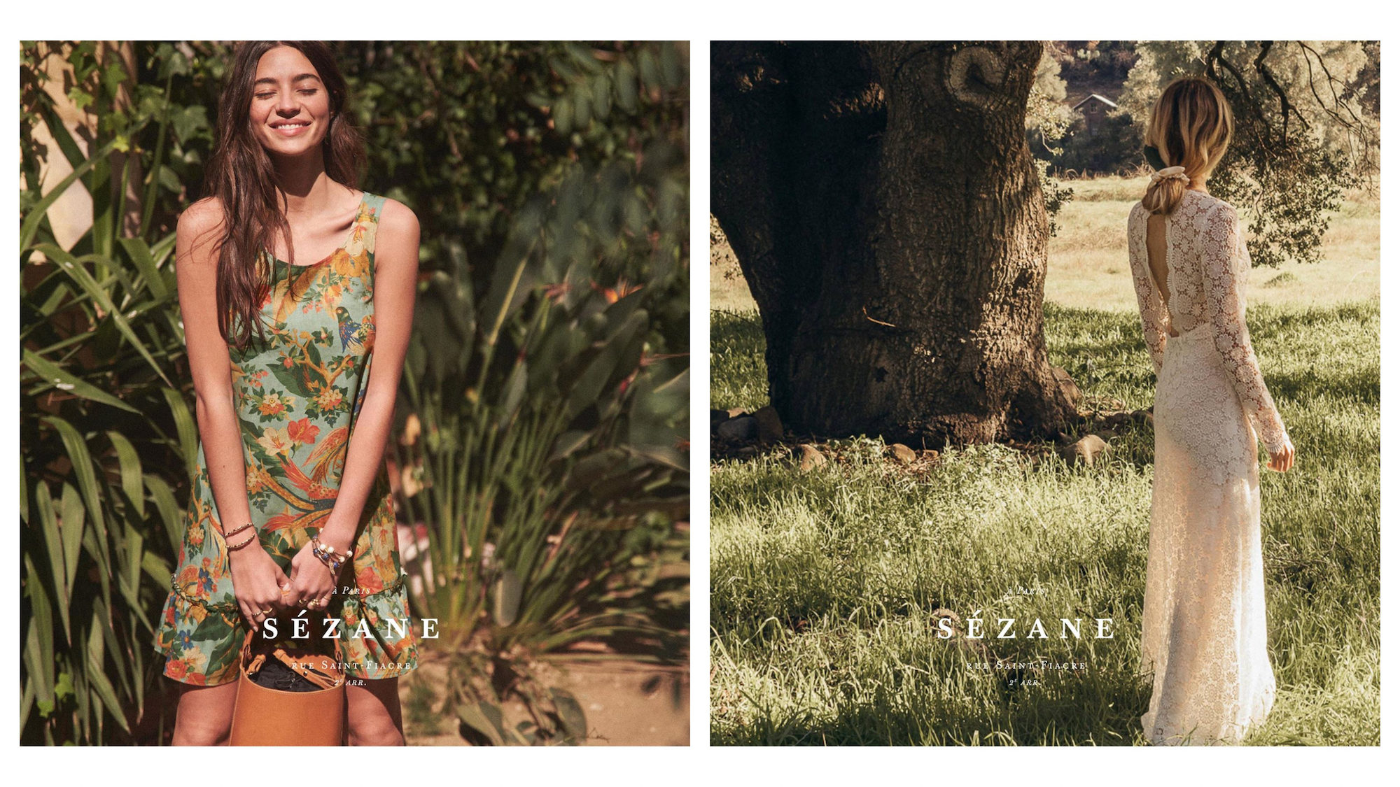 Another go-to brand for Parisians is Sézane, which offers well-cut dresses like this green flowery number for summer (left). Sézane also does wedding dresses like this lacy number worn by a model standing in a field (right).