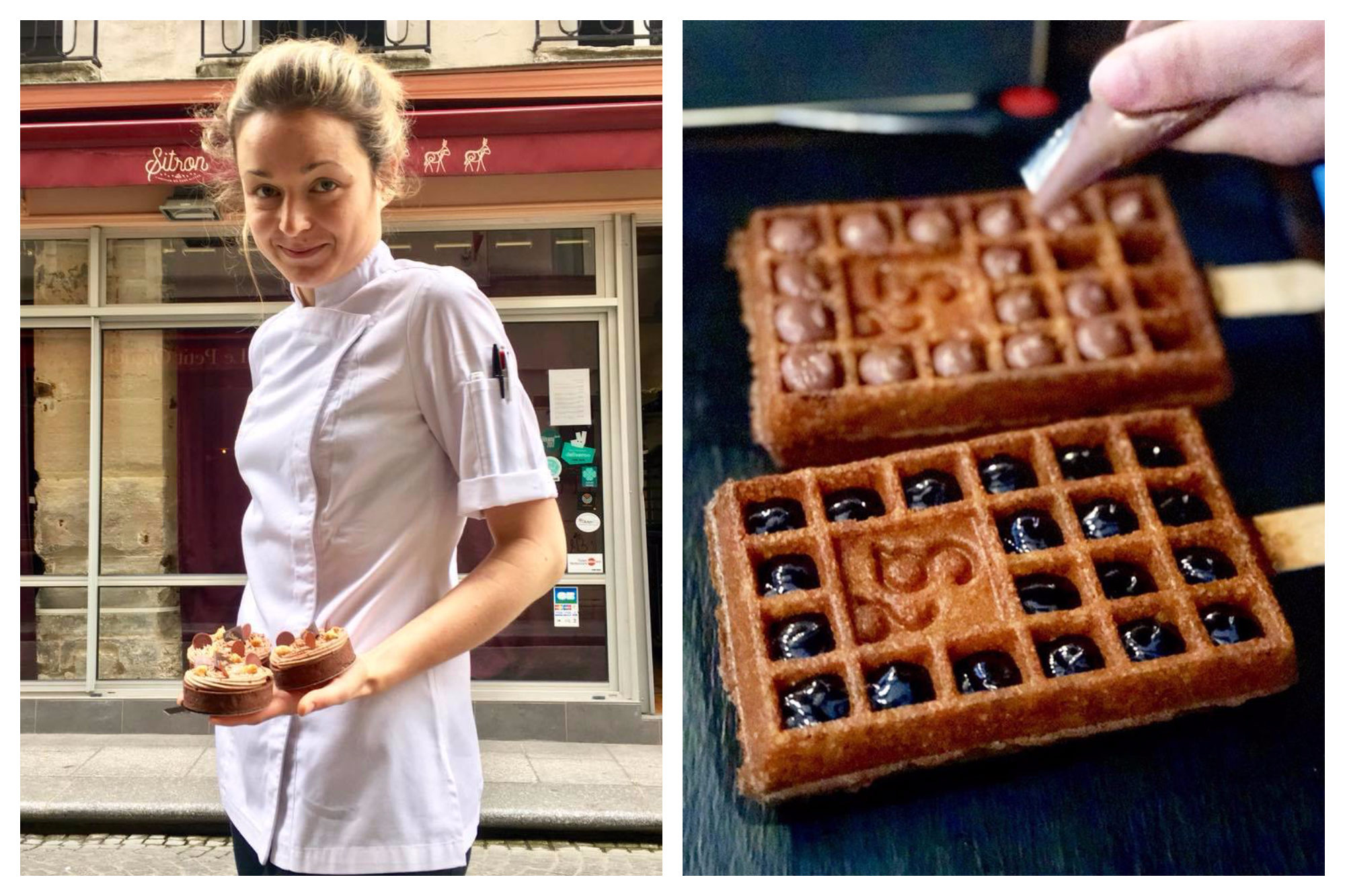 One of the bakers at Sitron holding three tars out on a Paris street (left). Gluten-free crispy chocolate-sauce waffles at Paris' Yummy and Guiltfree (right).