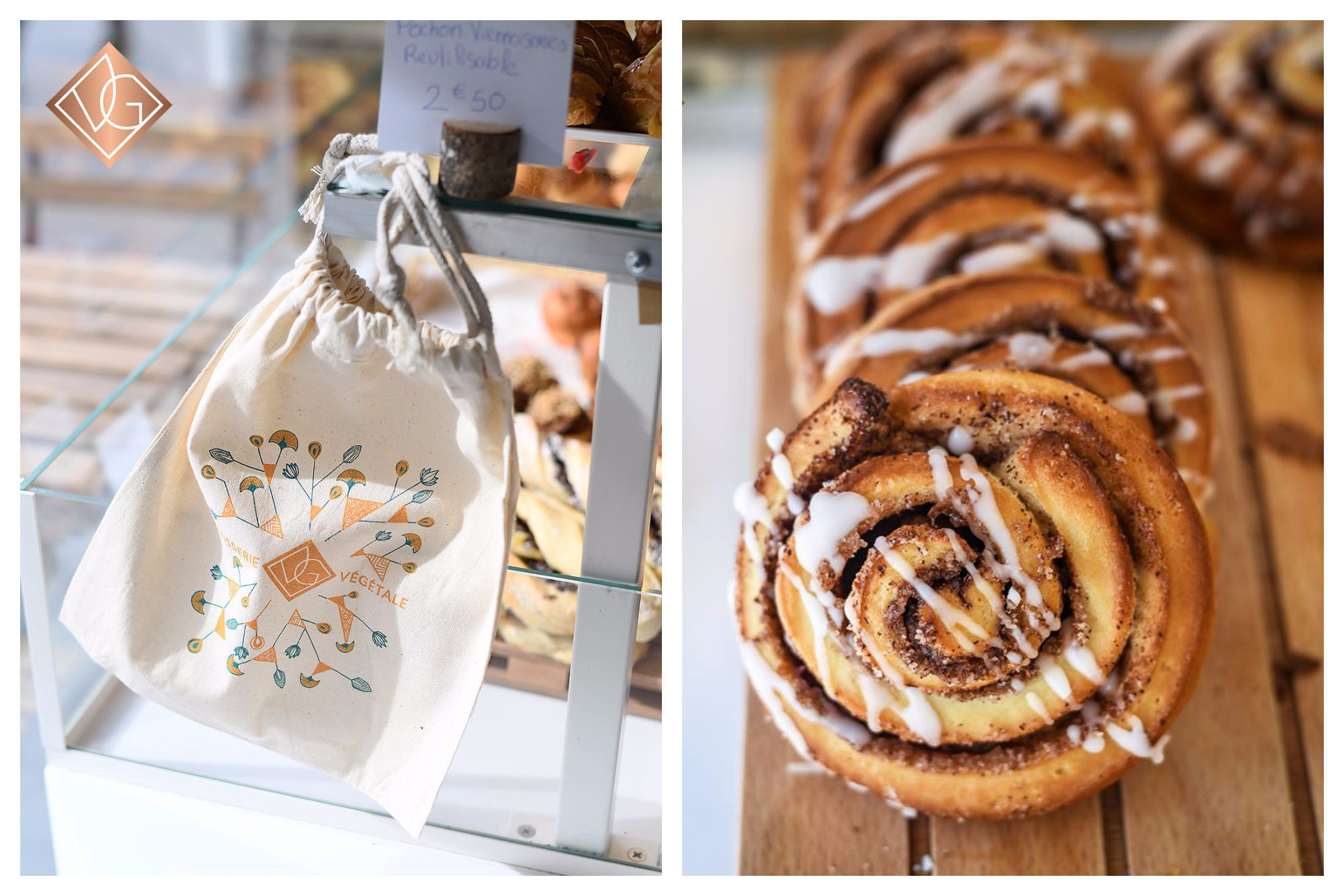 VG patisserie, a gluten-free bakery in Paris, gives out fabric bread bags (left) and offers delicious gluten-free cinnamon swirls (right).