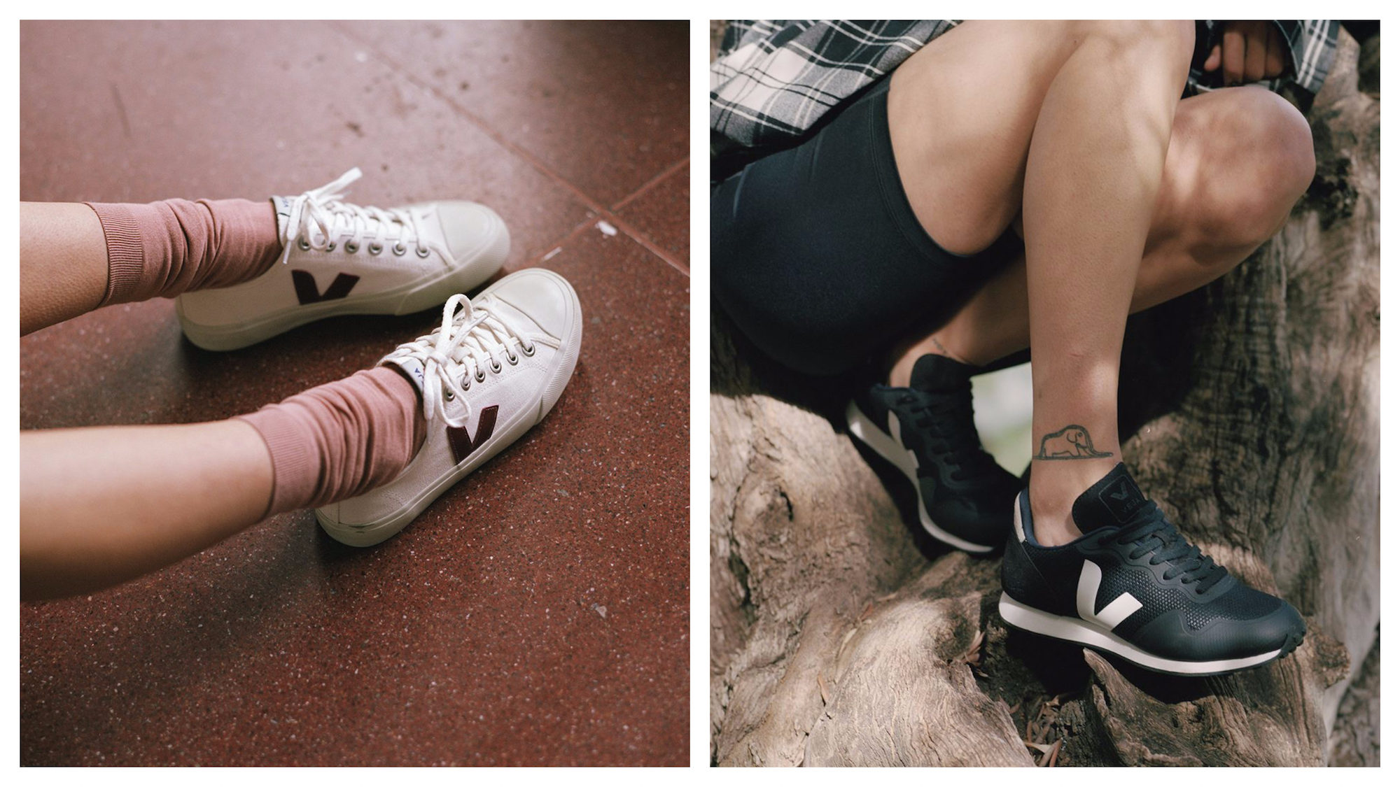Parisian brand to shop for shoes is Veja, which does sustainably made sneakers like these white ones (left) and black mock leather pair (right).