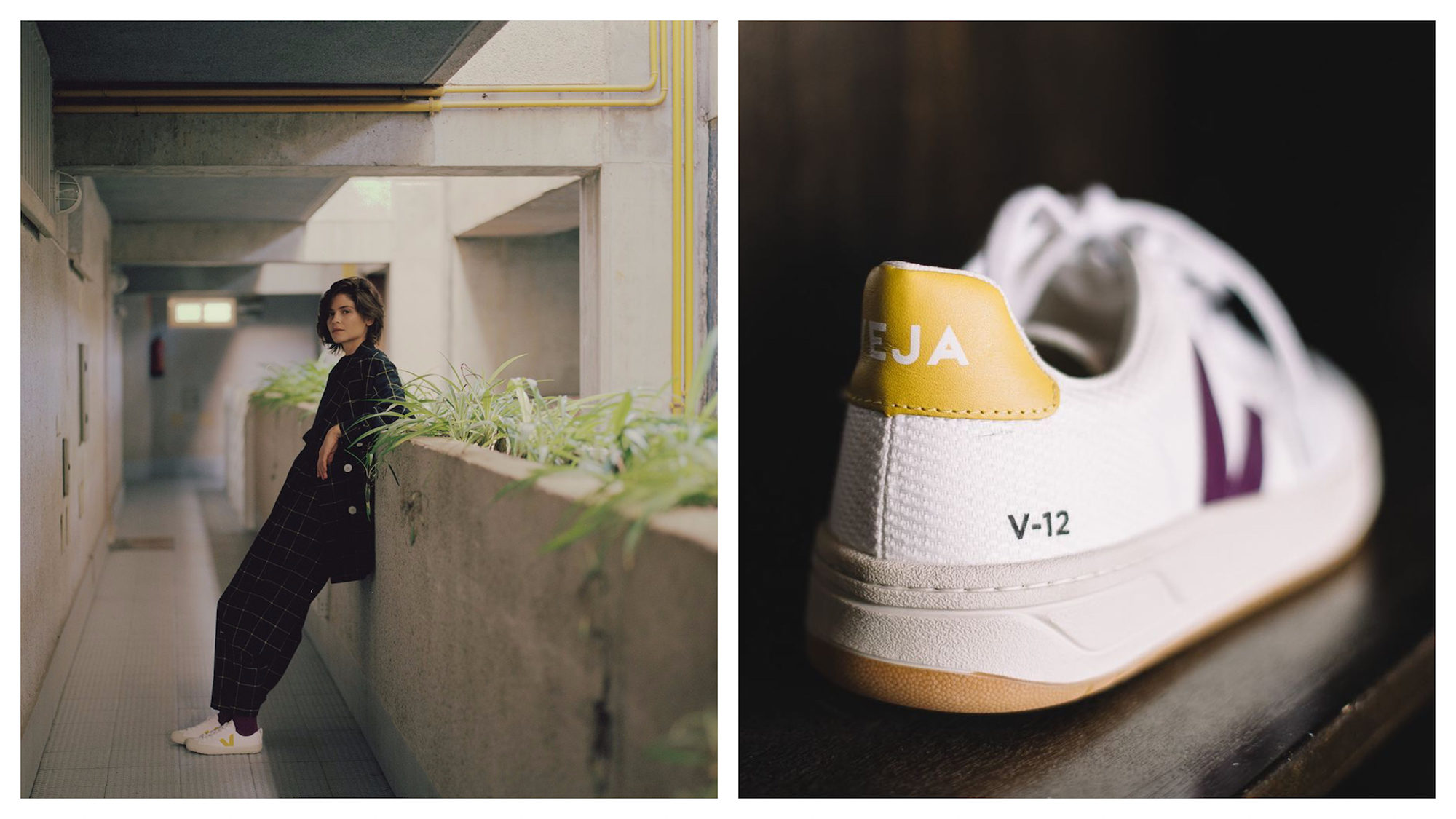 Get the right trainers to look like a Parisian, like these sustainably made Veja trainers worn by a model wearing cropped black trousers and a long blazer, as she leans against a concrete wall topped with plants (left). A pair of Veja trainers close-up (right).