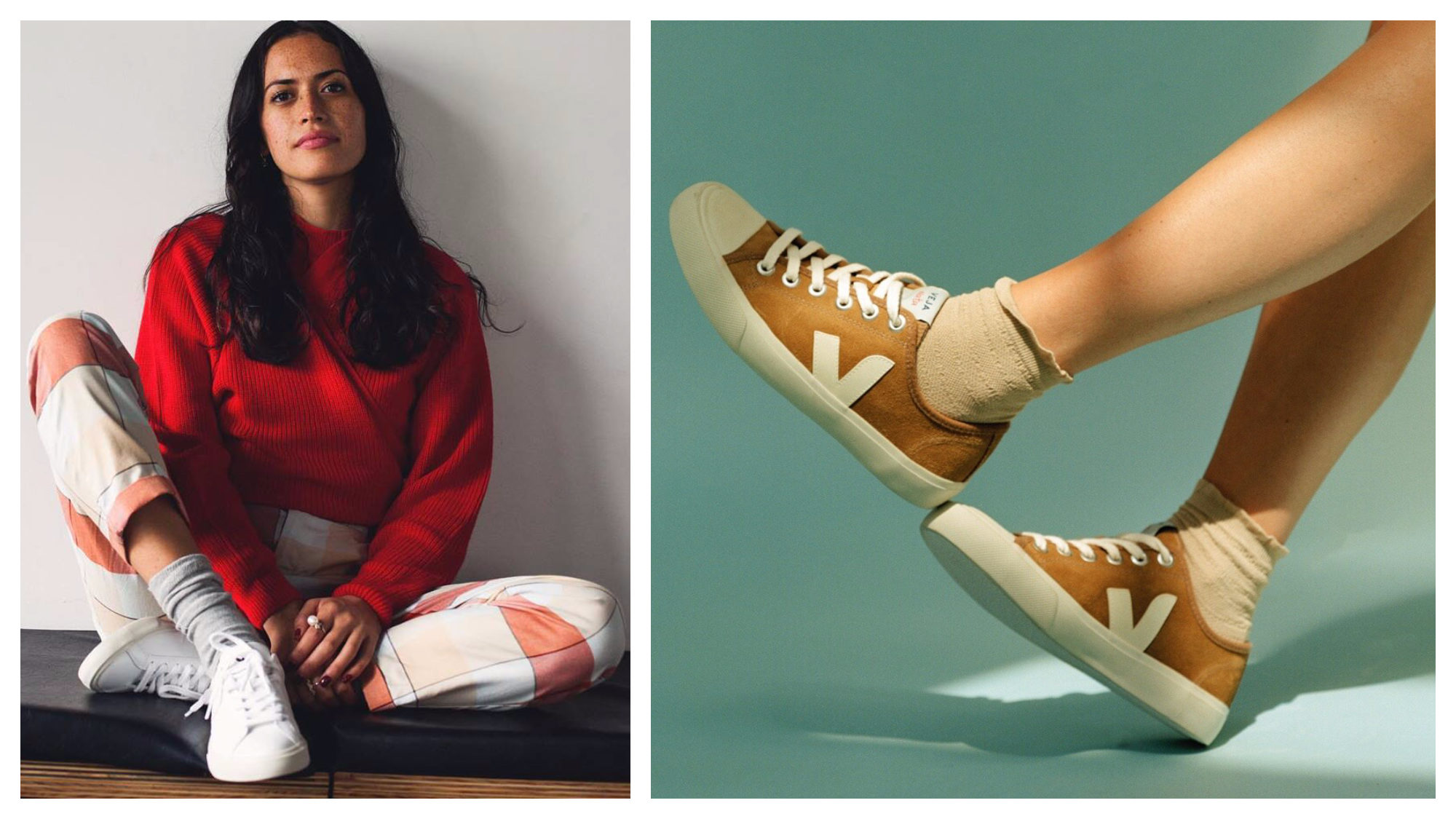 Veja is one of the brands you should know about if you want to get that Parisian fashion style, as they are sustainably made and versatile, like this white pair teamed with white trousers and red top (left) or these mustard-colored sneakers worn with cropped socks (right).
